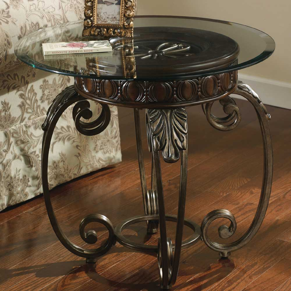signature design by ashley tullio t399 6 metal round end table with glass top del sol. Black Bedroom Furniture Sets. Home Design Ideas