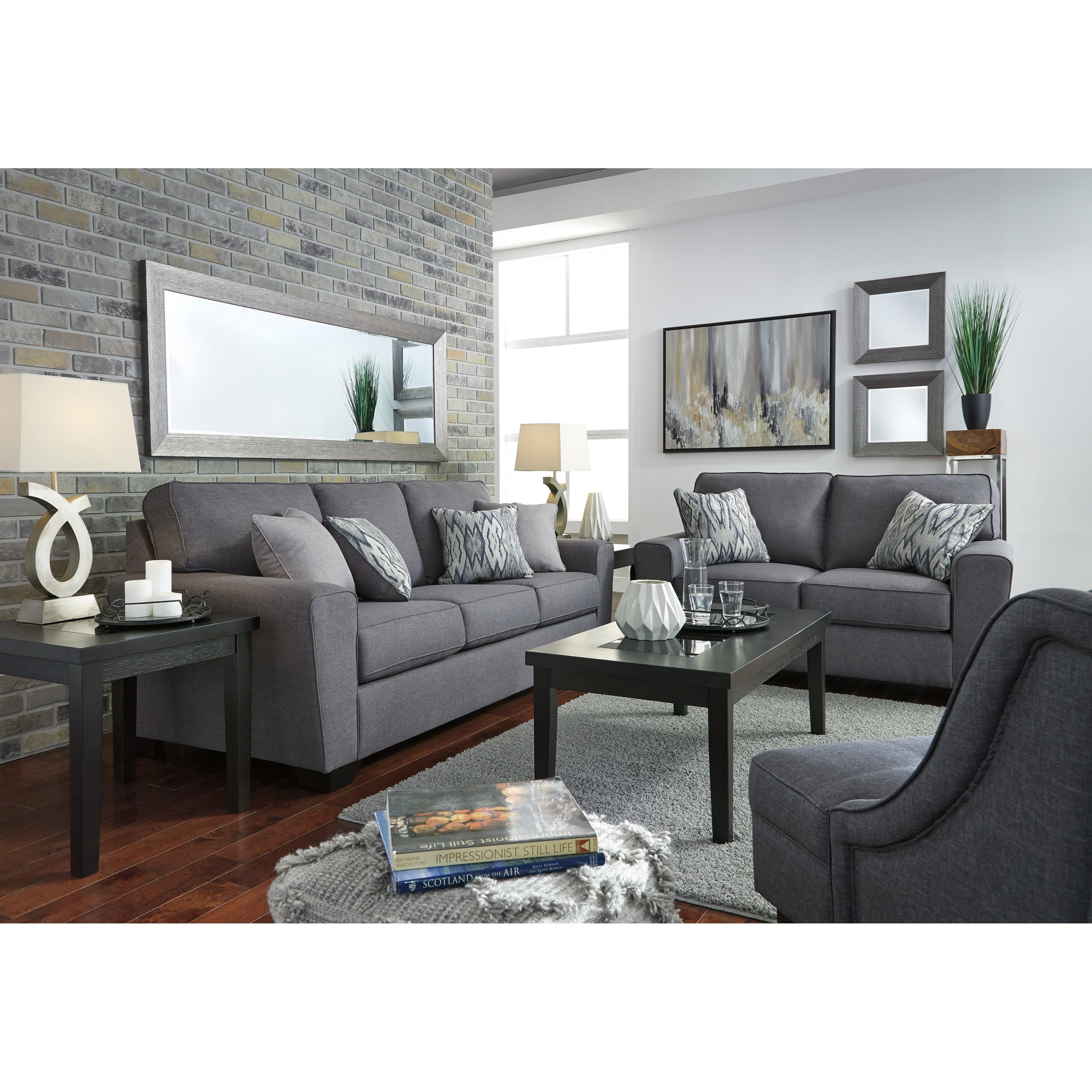 Ashley furniture calion stationary living room group zak for Living room furniture groups