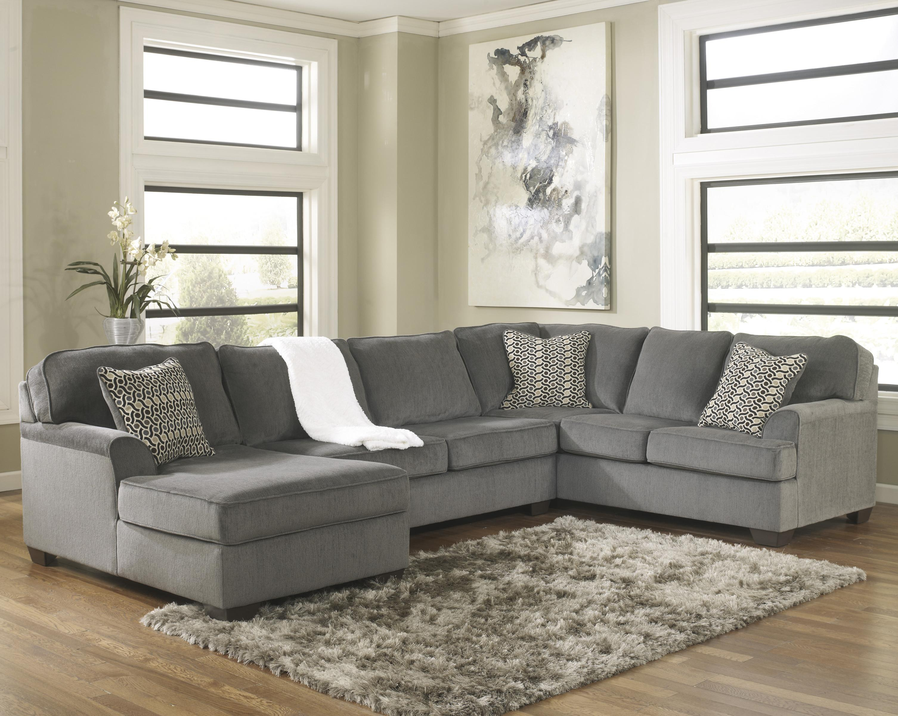 Ashley furniture loric smoke contemporary 3 piece sectional with left chaise john v schultz for Living room sectional furniture