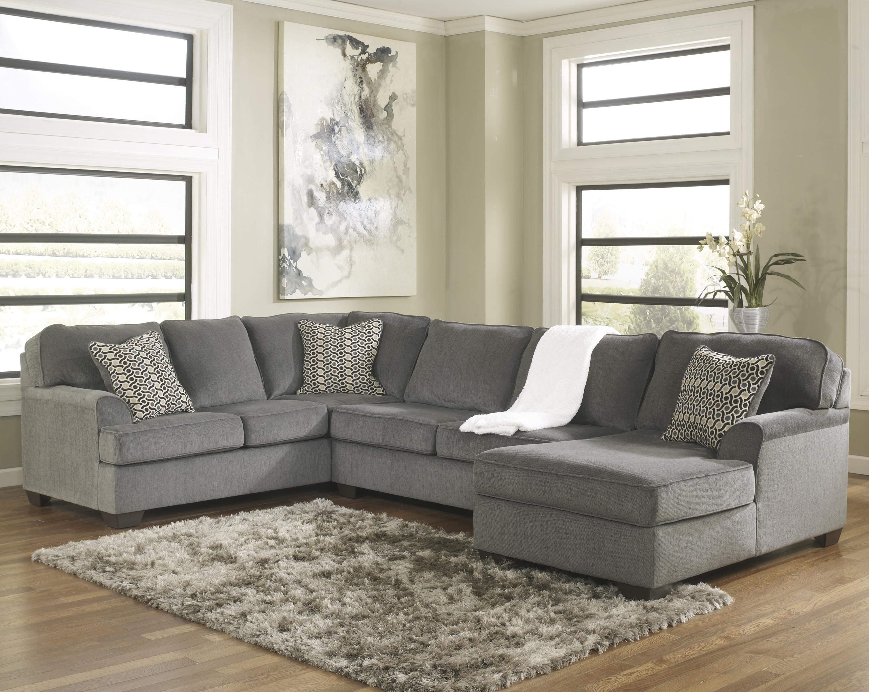 ashley furniture loric smoke contemporary 3 piece sectional with right chaise john v schultz. Black Bedroom Furniture Sets. Home Design Ideas