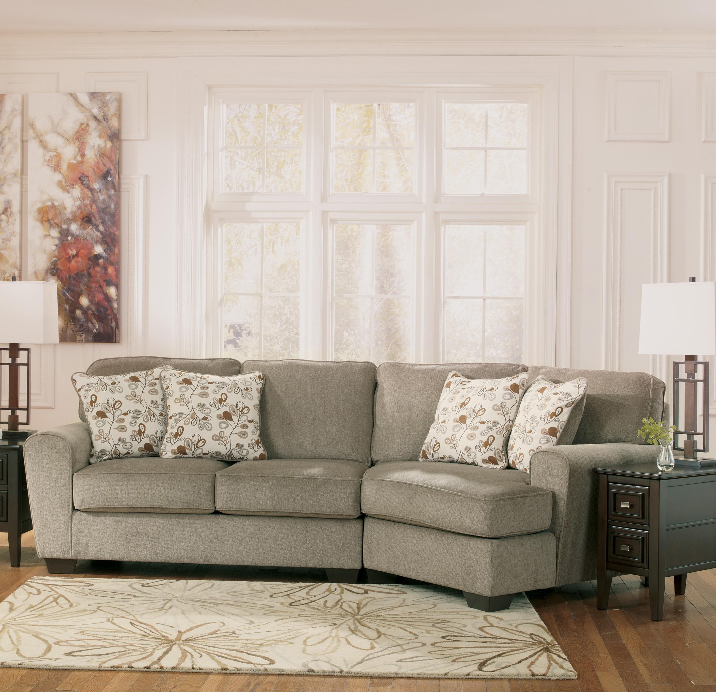 Ashley furniture patola park patina 2 piece sectional for Small sectional sofa with cuddler
