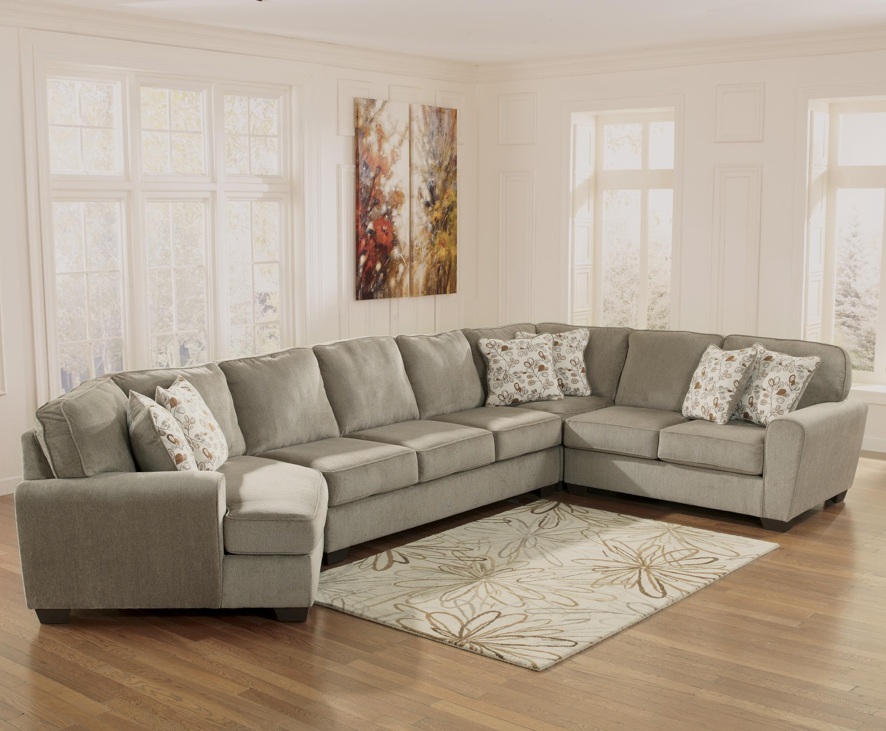 Ashley furniture patola park patina 4 piece sectional for Sectional sofa with cuddler and chaise