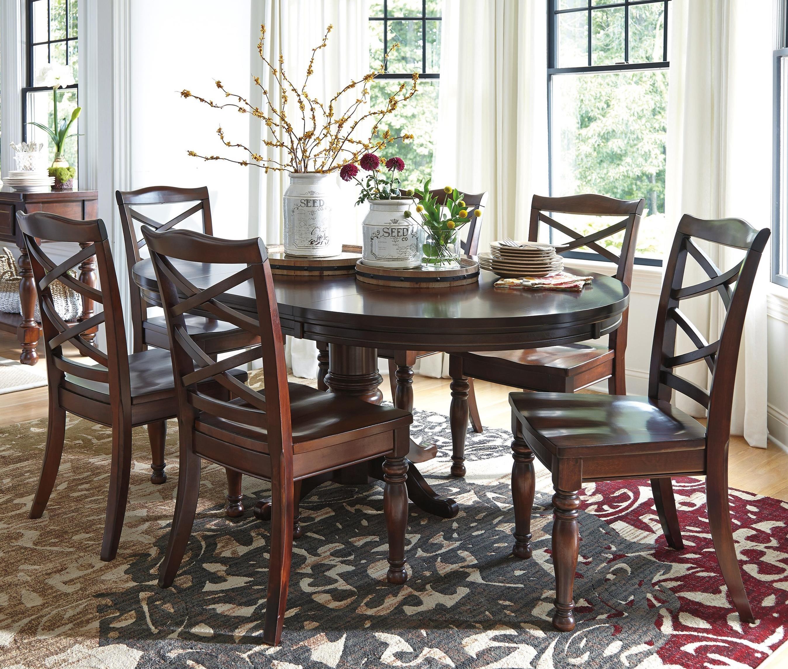 ashley furniture porter 7 piece round dining table set john v schultz furniture dining 7 or. Black Bedroom Furniture Sets. Home Design Ideas