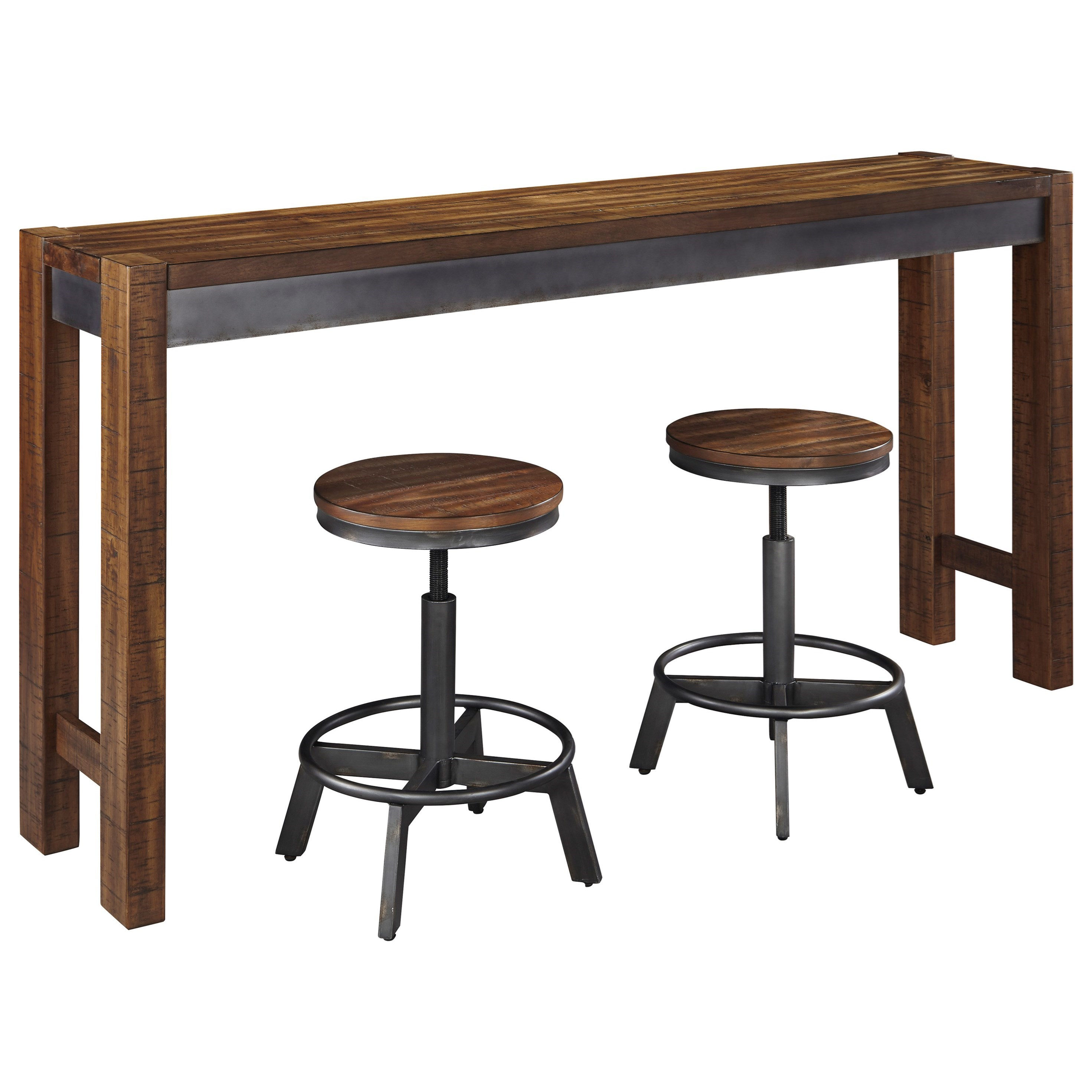 Signature design by ashley torjin 3 piece rustic long for Table behind couch with stools