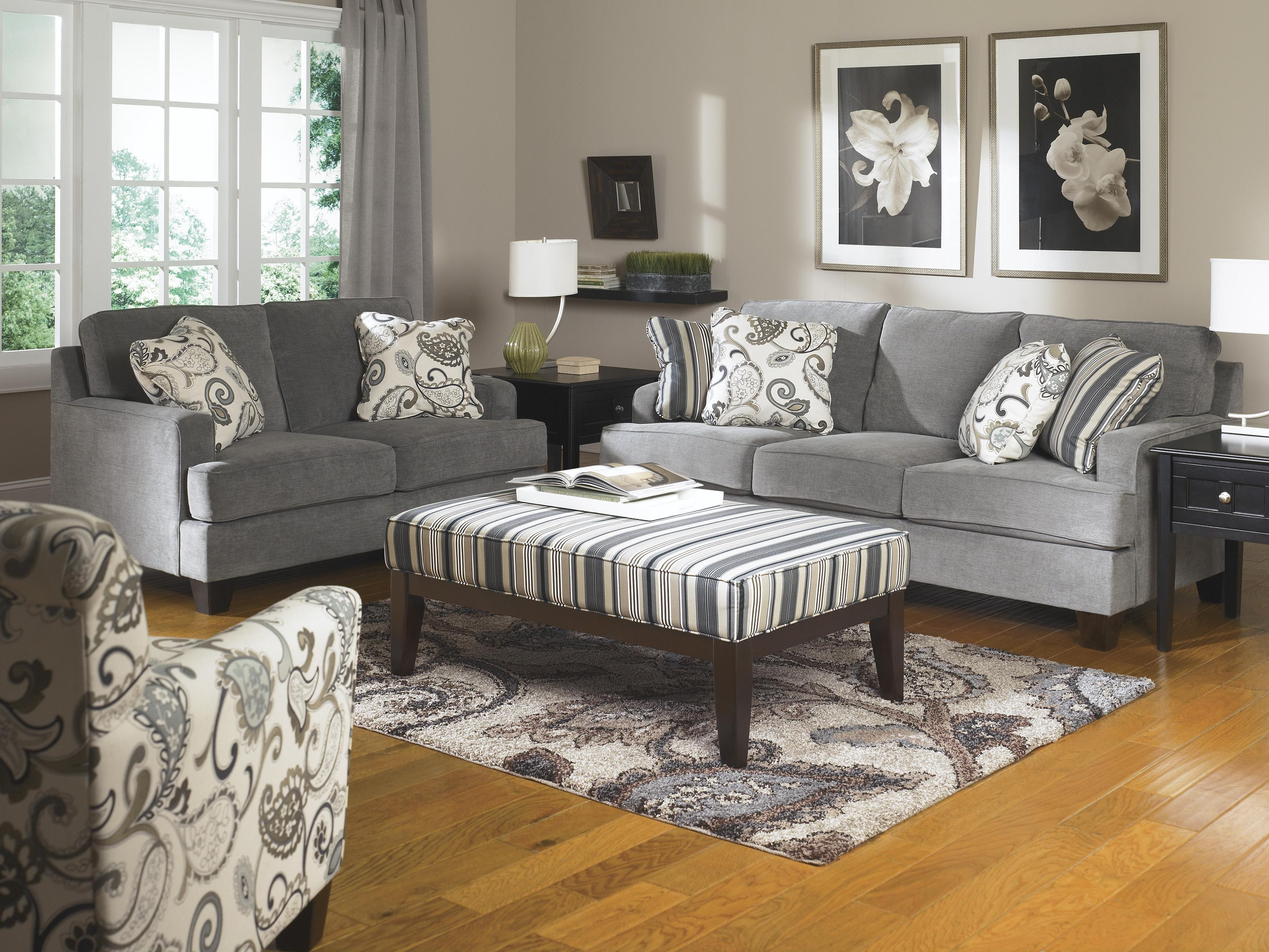 Ashley furniture yvette steel stationary living room for Living room furniture groups