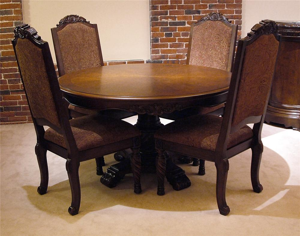 Old world 5pc round pedestal table chair set rotmans for Latest style dining table
