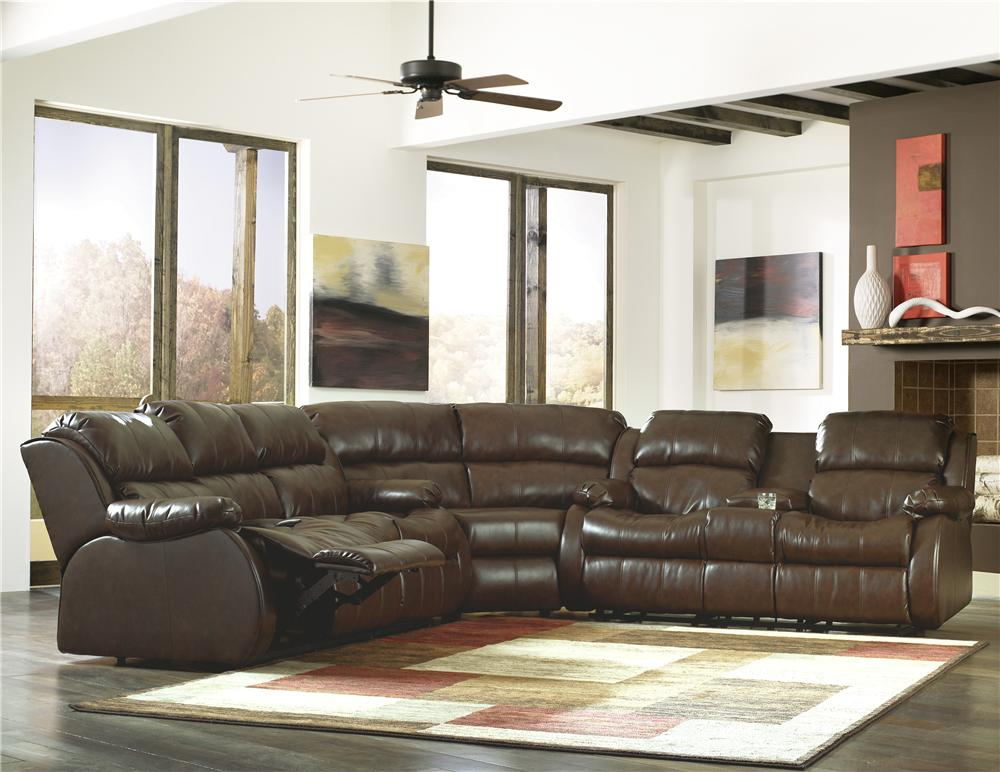 Mollifield durablend caf motion sectional with 4 - Ashley millennium living room furniture ...