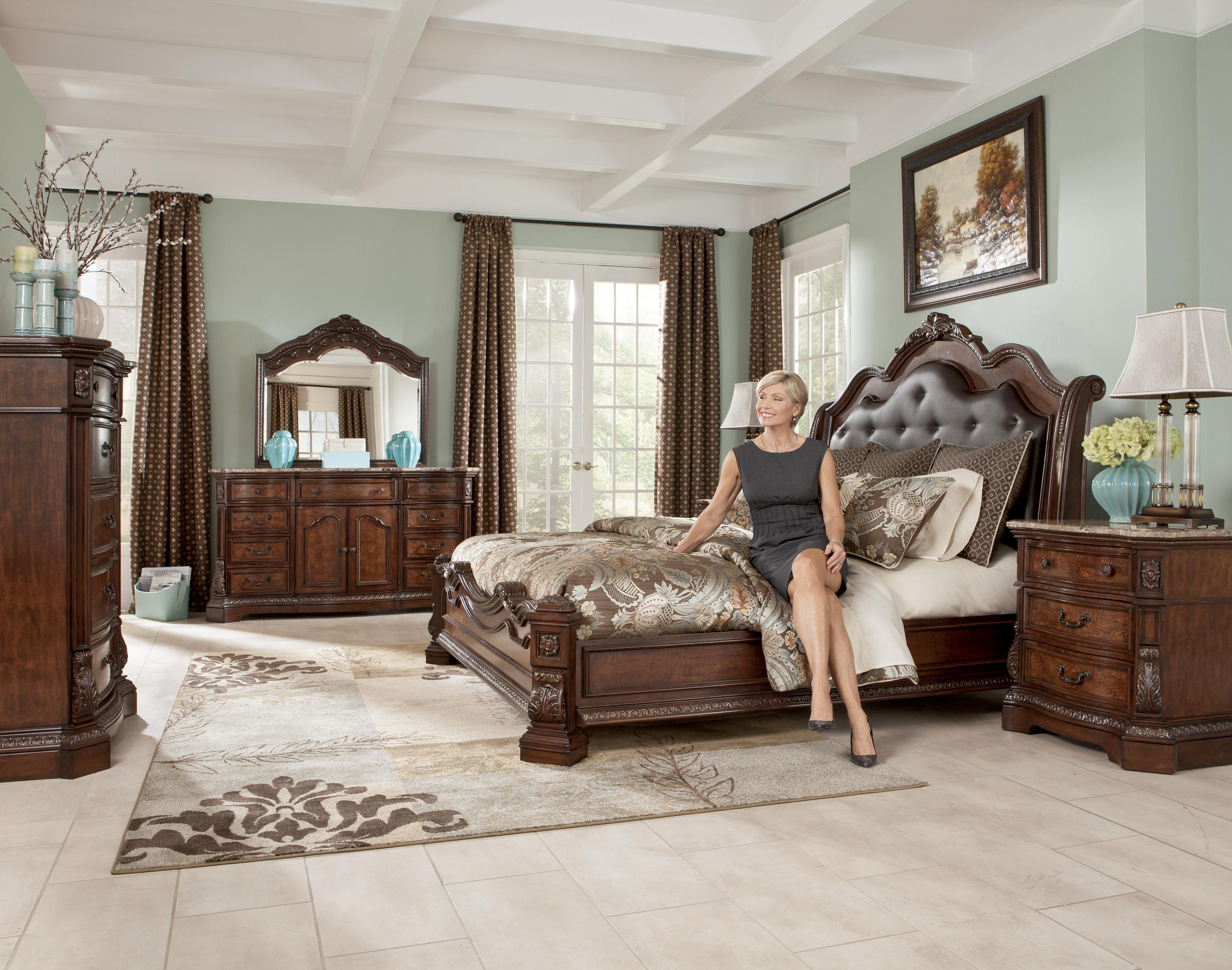 Millennium Ledelle Traditional Queen Bed With Sleigh Headboard Del Sol Furniture Upholstered