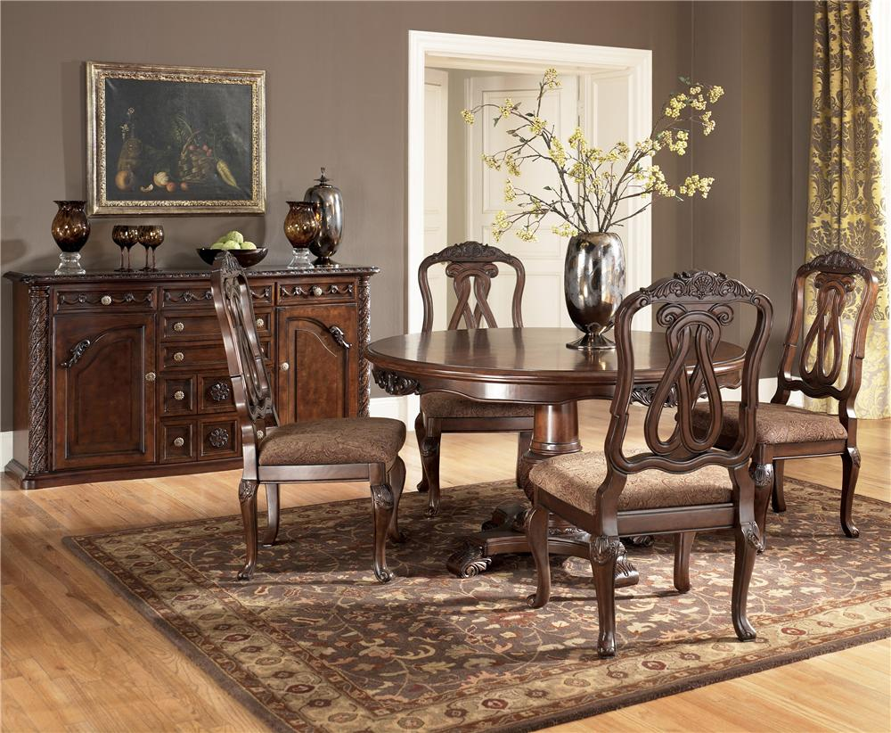 millennium north shore 5 piece single pedestal table side chair set
