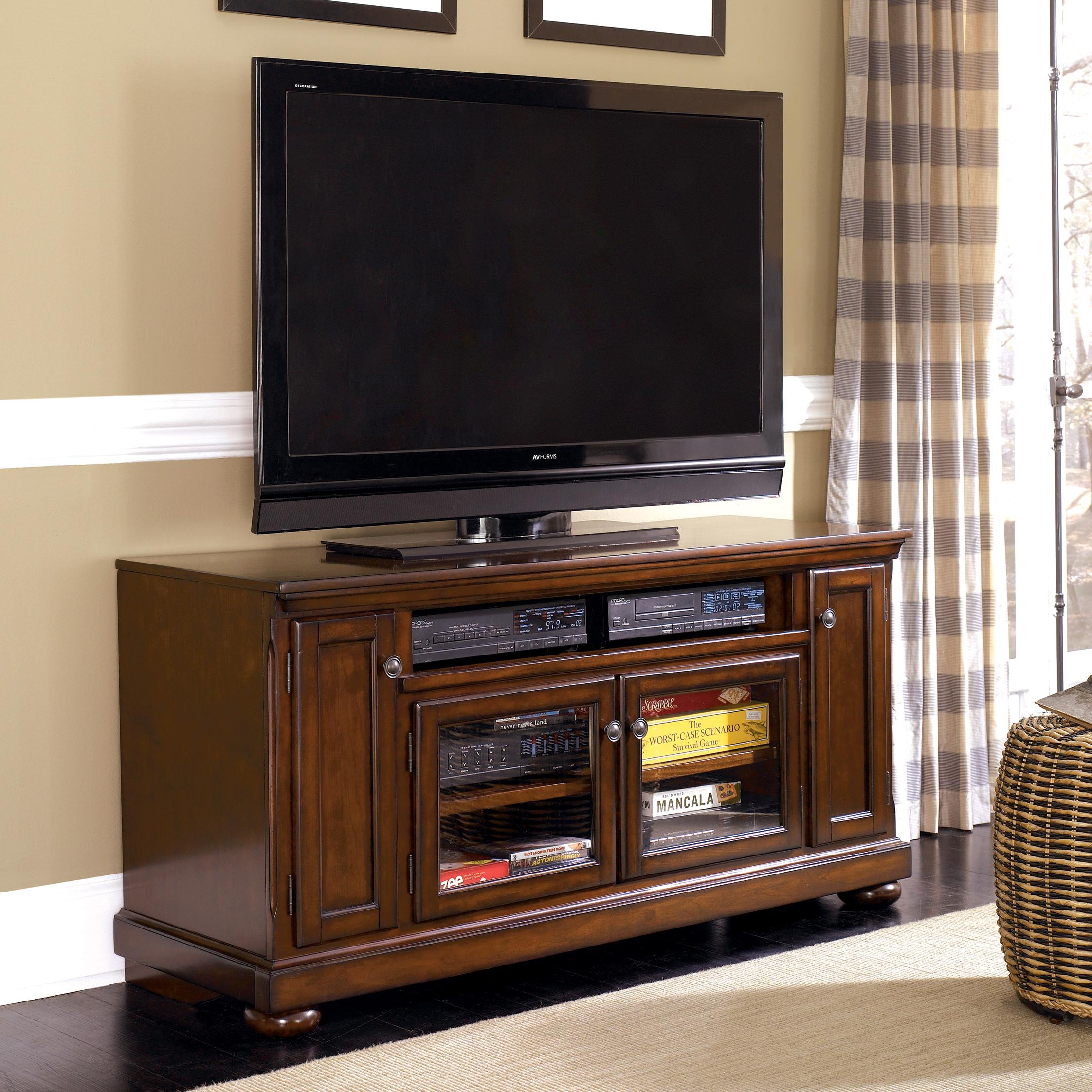 millennium porter transitional cherry 60 large tv stand