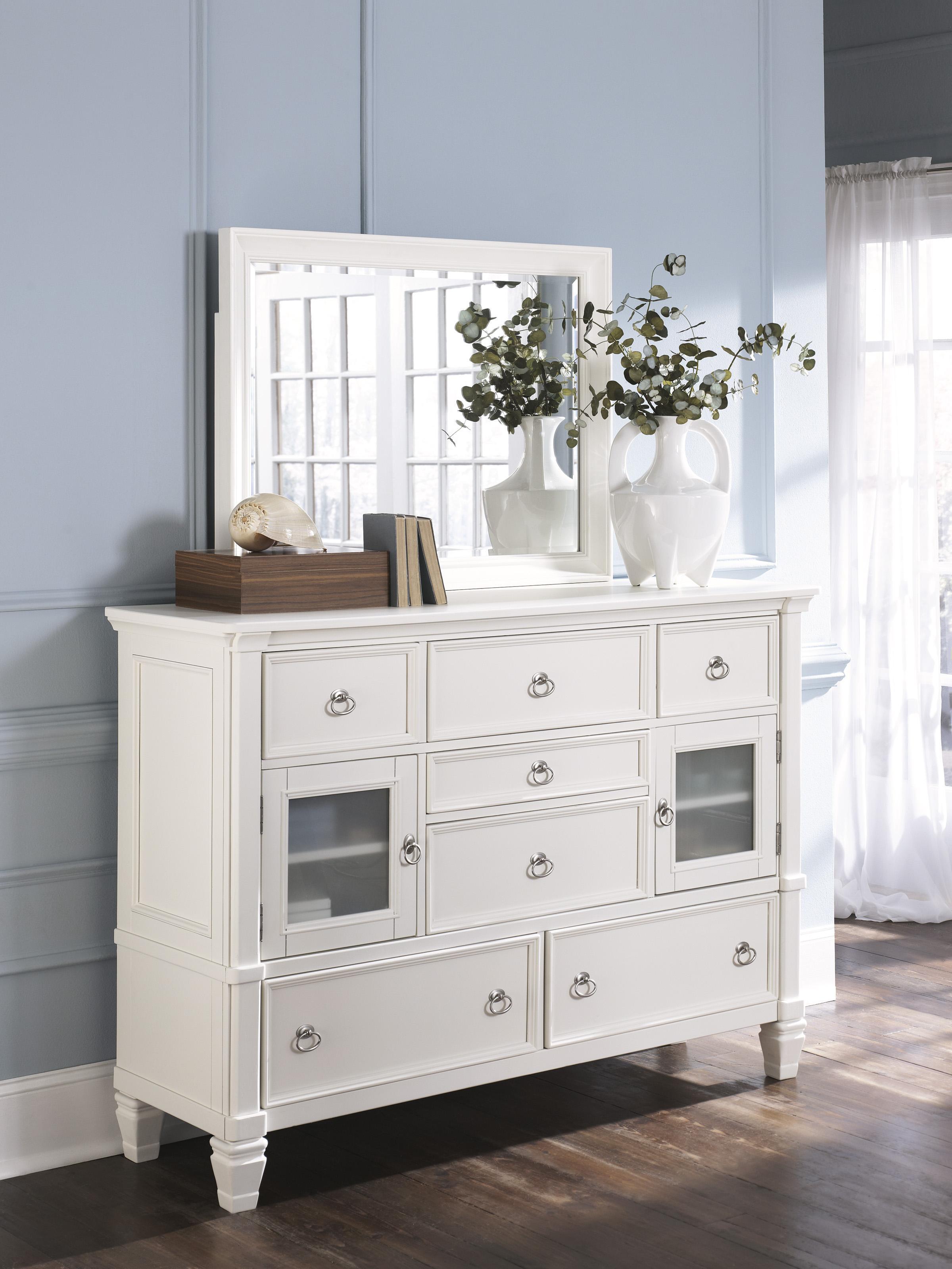 millennium prentice 7 drawer dresser with glass door