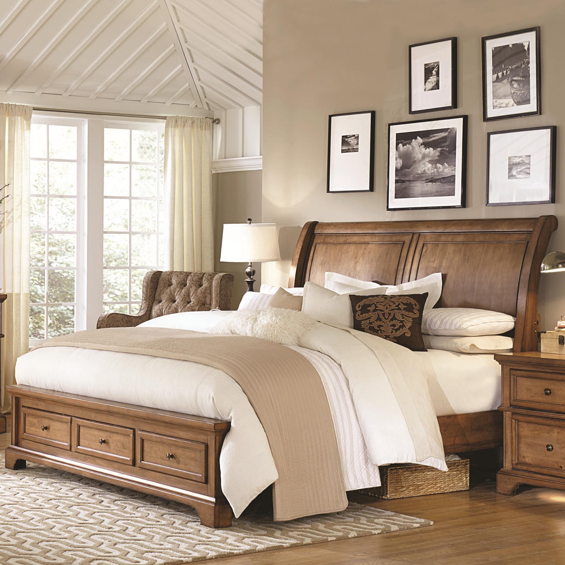 Aspenhome Alder Creek Queen Low Profile Sleigh Storage Bed Olinde 39 S Furniture Platform Beds