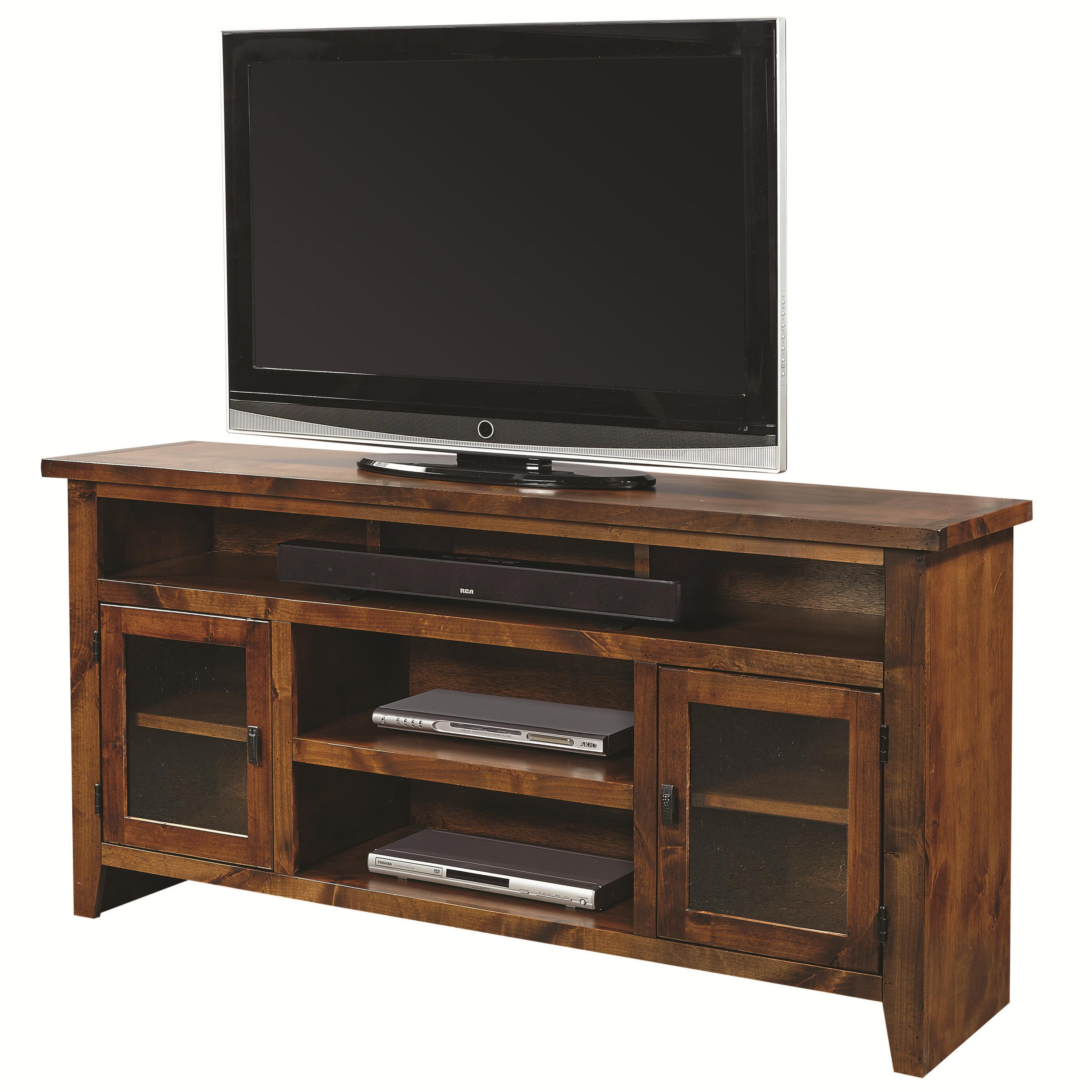Aspenhome alder grove 65 console with 2 glass doors for Furniture 65