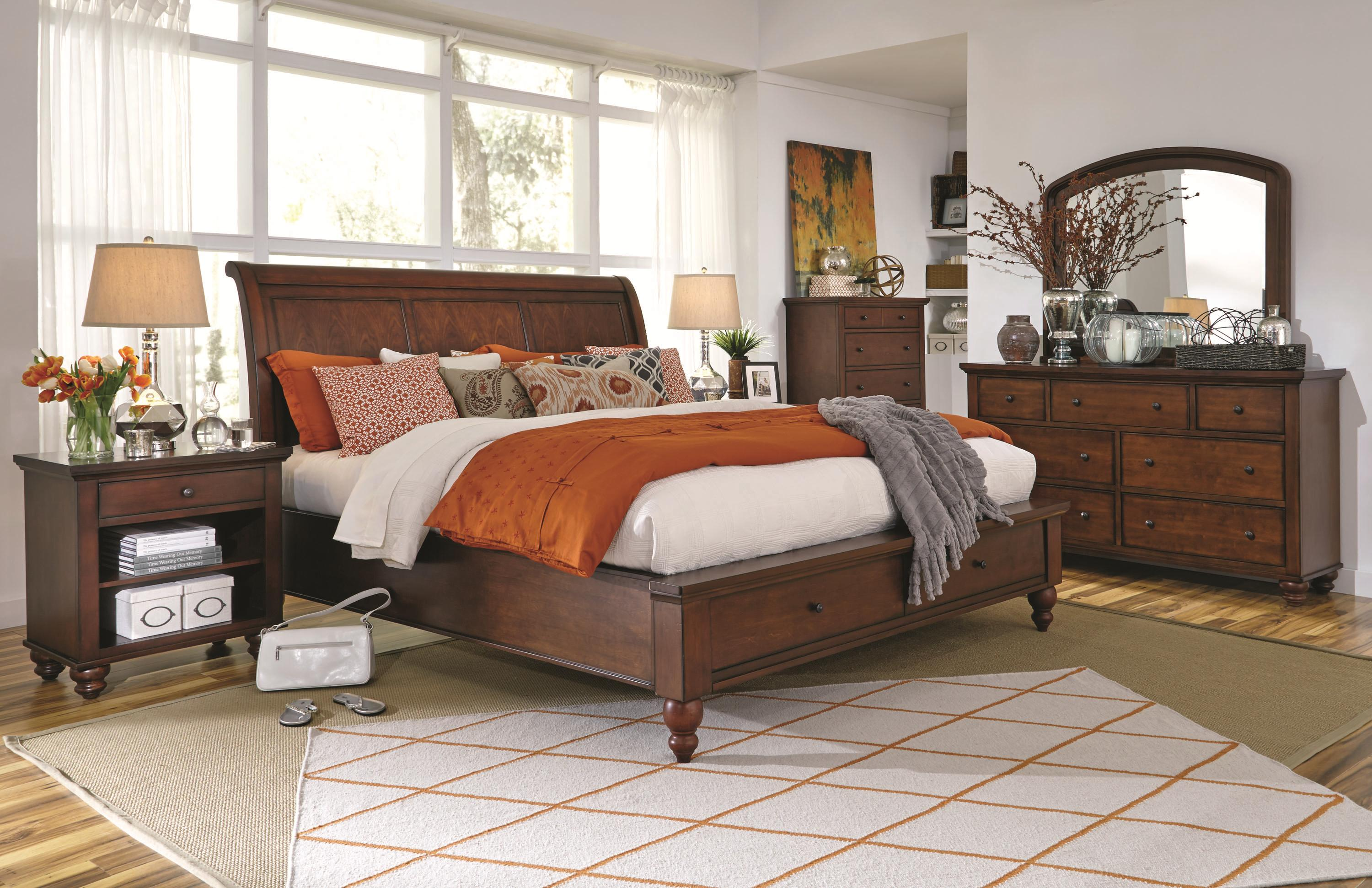 Aspenhome cambridge queen size bed with sleigh headboard drawer storage footboard darvin Home furniture queen size bed