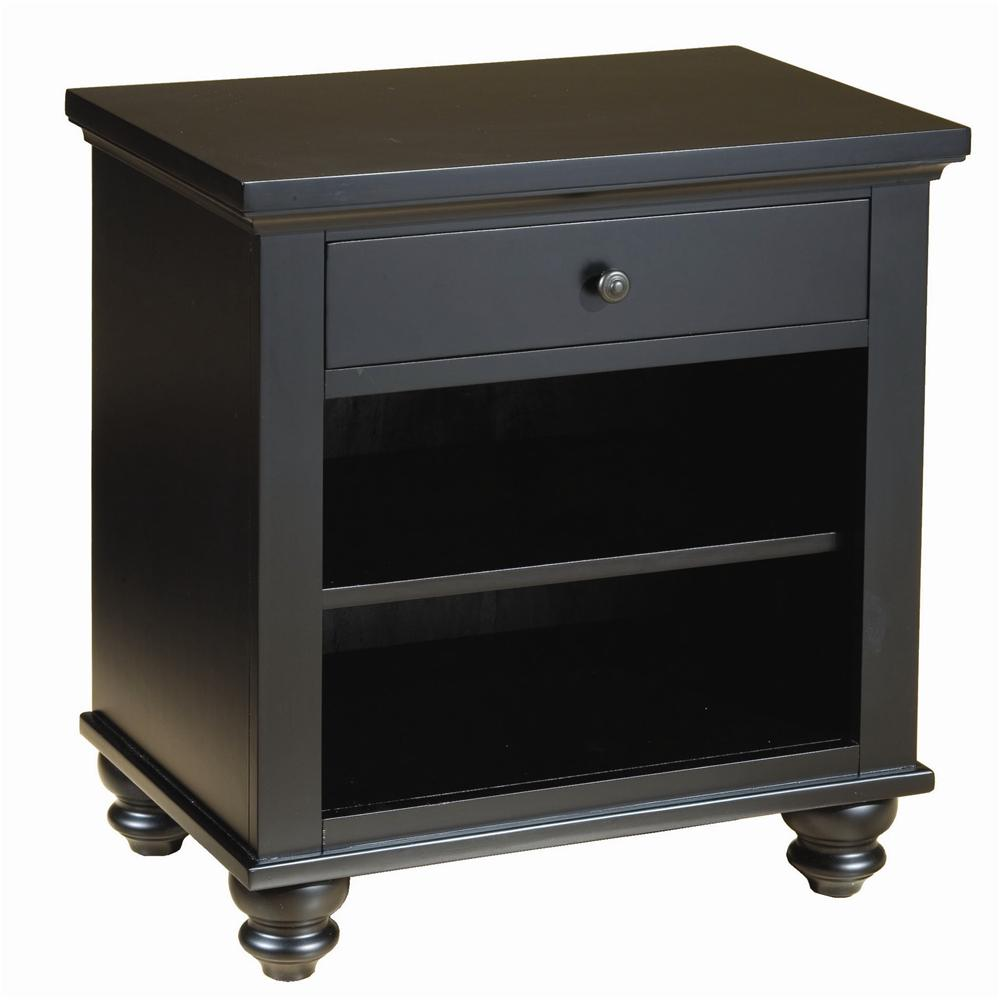 Aspenhome Cambridge Icb 451 Blk One Drawer Night Stand With Two Shelves Dunk Bright