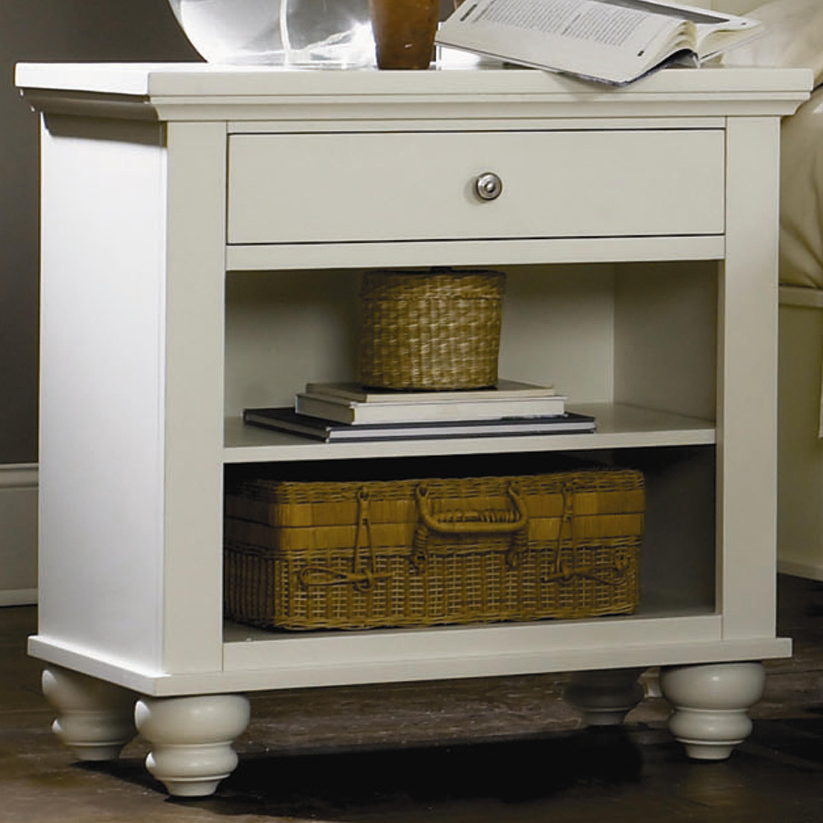 aspenhome cambridge one drawer night stand with two. Black Bedroom Furniture Sets. Home Design Ideas