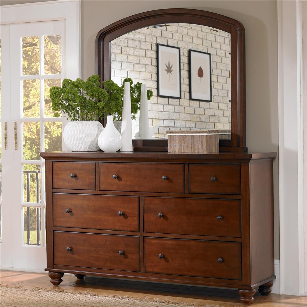 Aspenhome Cambridge 7 Drawer Double Dresser Mirror Combo Royal Furniture Dresser Mirror Sets