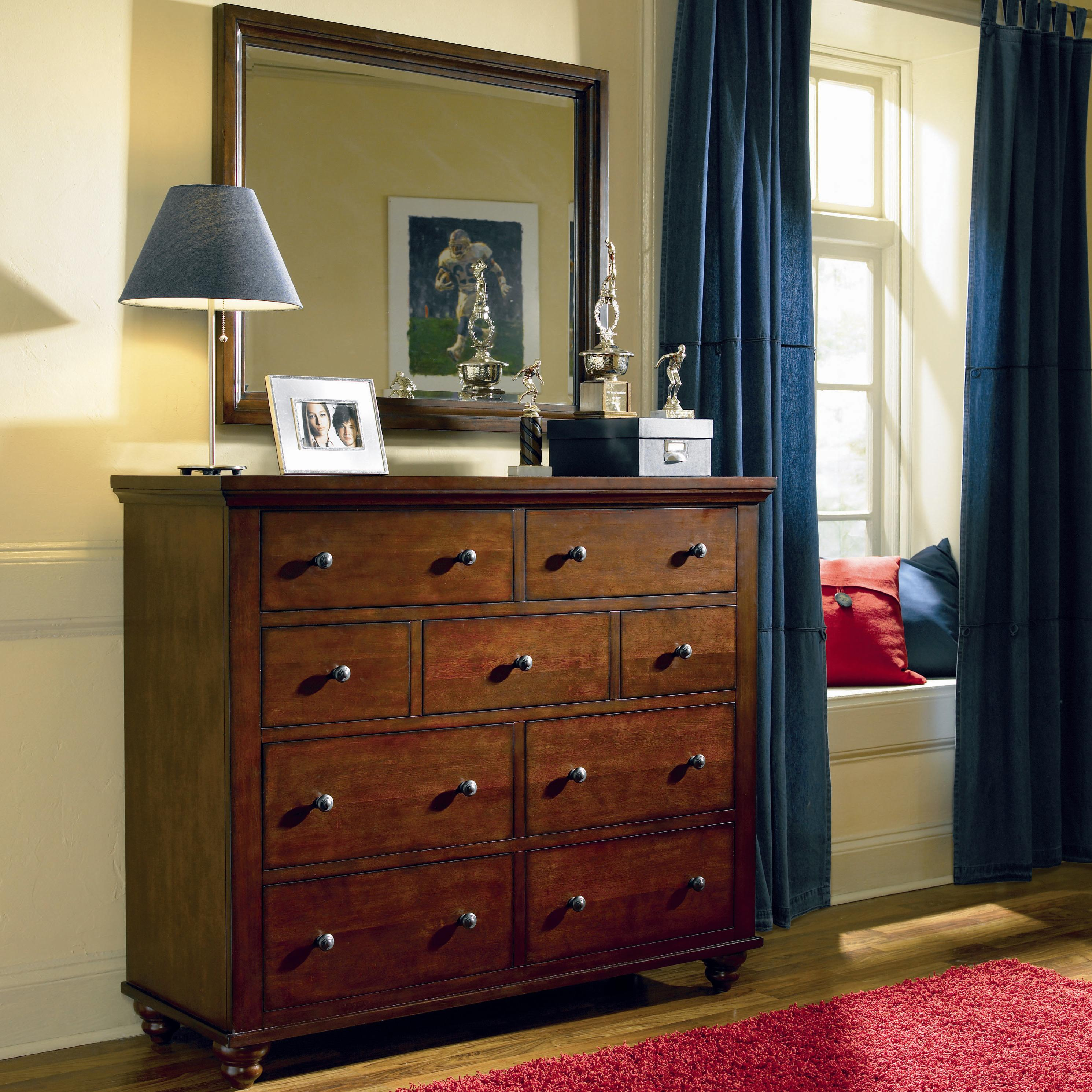 Aspenhome Cambridge 9 Drawer Chesser And Mirror Combo Wayside Furniture Dresser Mirror