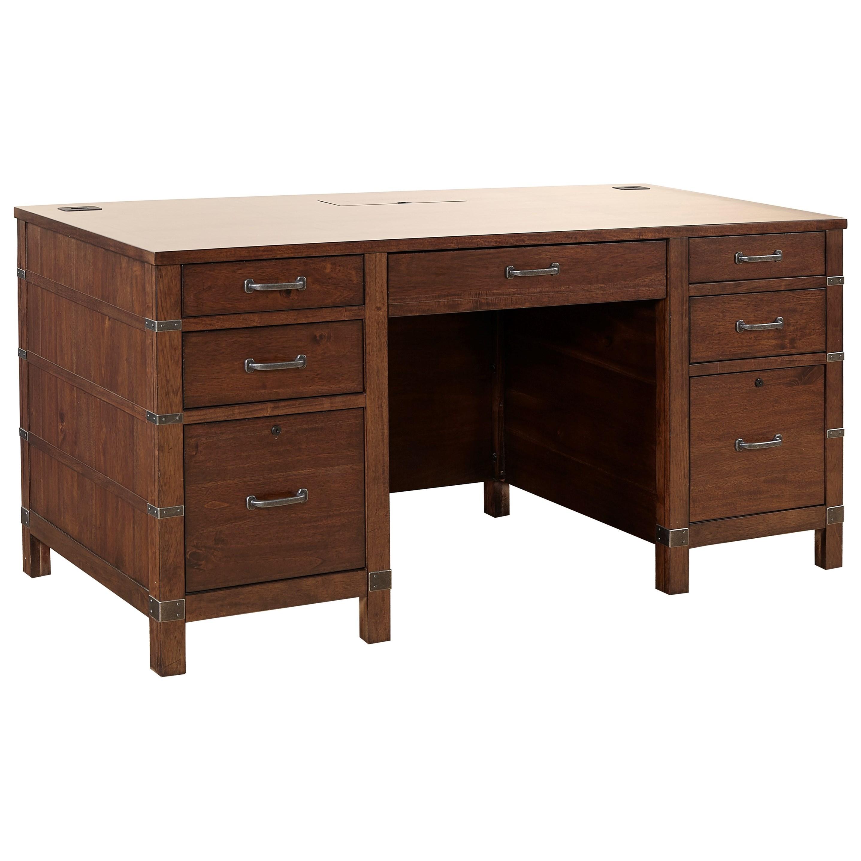 Aspenhome Canfield 66 Exec Desk With Ac Outlets Wayside Furniture Double Pedestal Desks