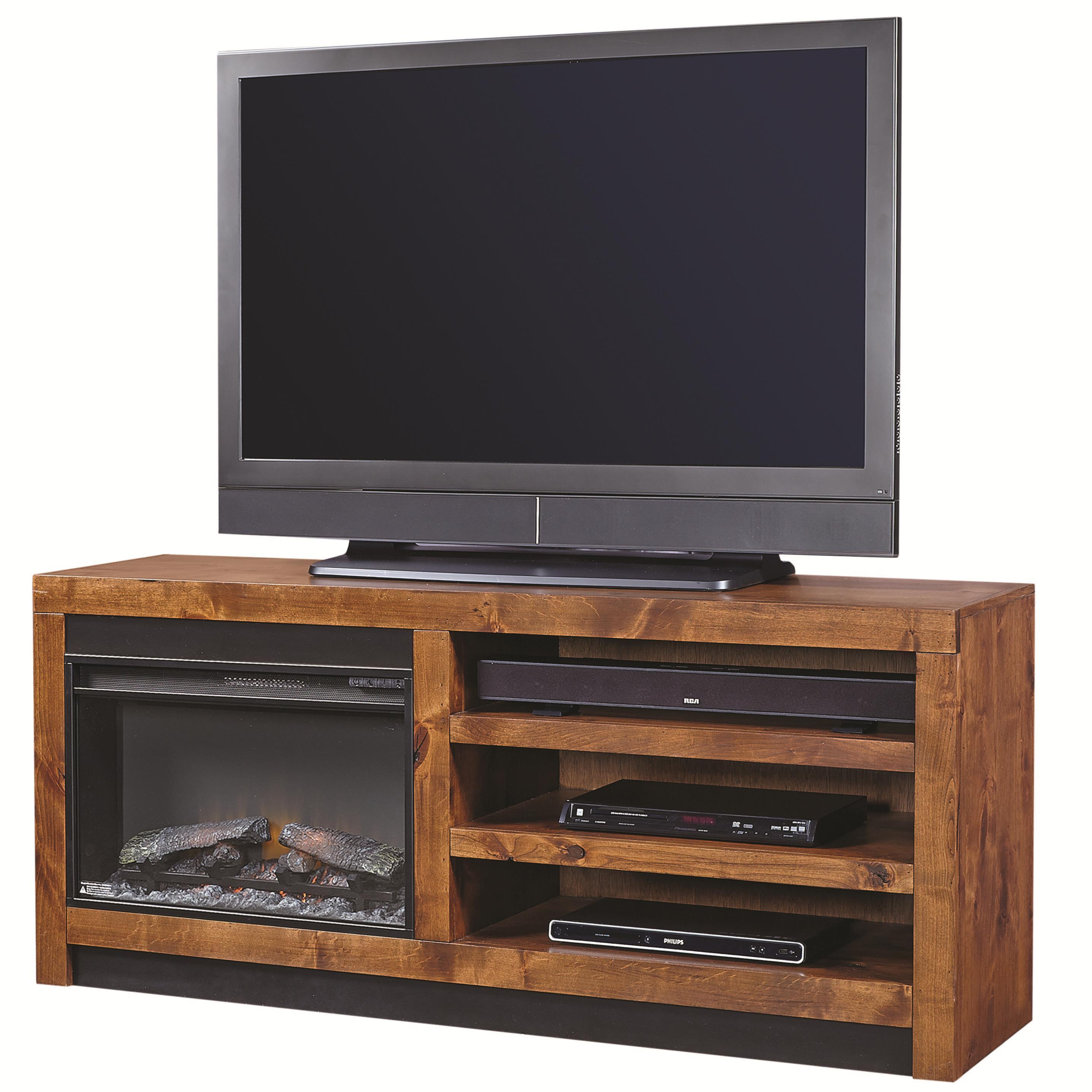 aspenhome contemporary alder 65 inch fireplace console with 2 shelves belfort furniture tv. Black Bedroom Furniture Sets. Home Design Ideas