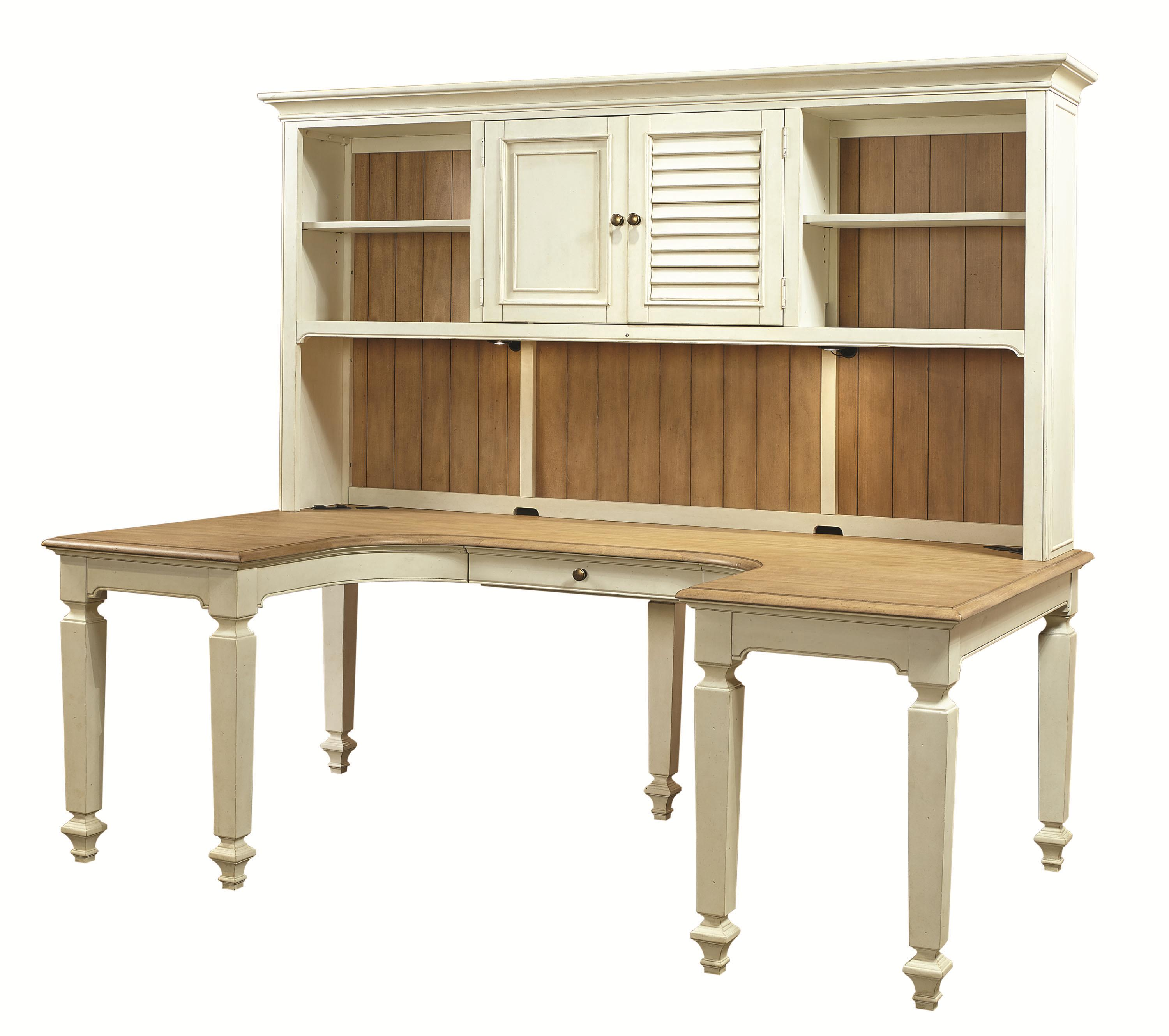 Marvelous photograph of Aspenhome Cottonwood U Shaped Desk and Hutch with 3 Shelves and  with #6C4C2D color and 3000x2658 pixels
