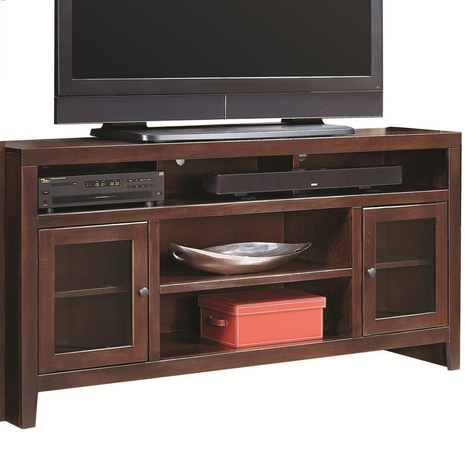 aspenhome essentials lifestyle 65 inch console with 2 glass doors conlin 39 s furniture tv stands. Black Bedroom Furniture Sets. Home Design Ideas