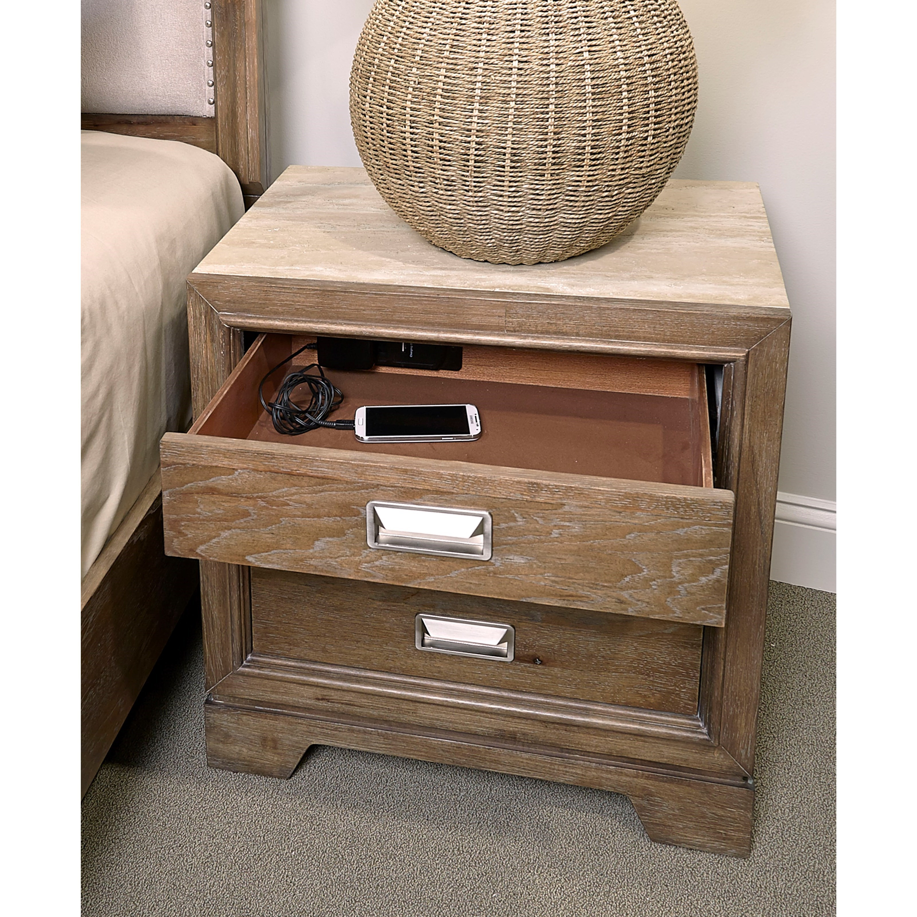 Aspenhome Front Street 2 Drawer Nightstand With Ac Outlets Mueller Furniture Night Stands