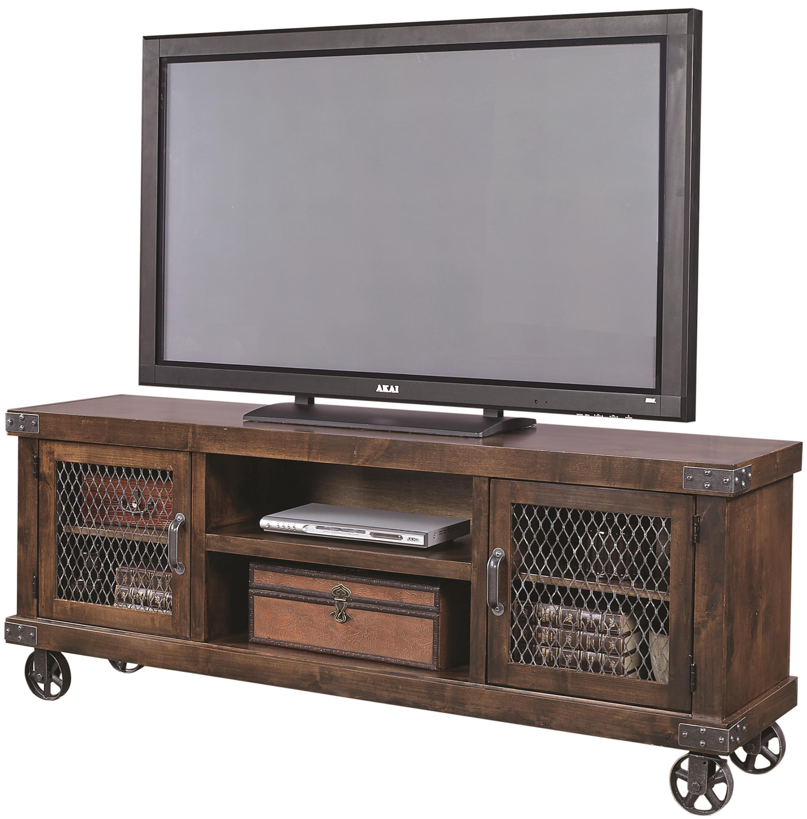 Aspenhome industrial dn1074 tob 74 console with 2 doors for Meuble console tv