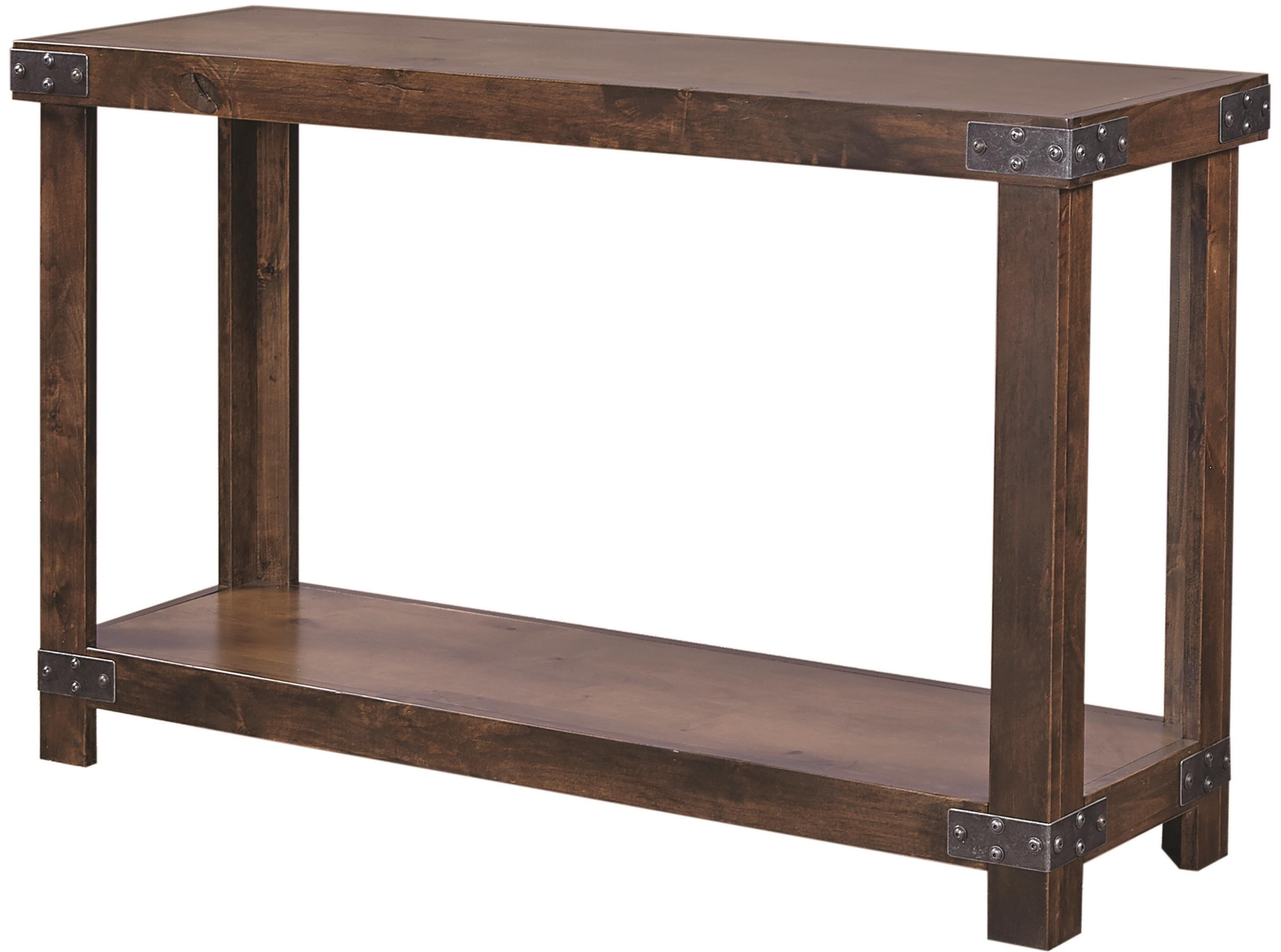 Aspenhome industrial dn915 tob sofa table with shelf for Sofa industrial