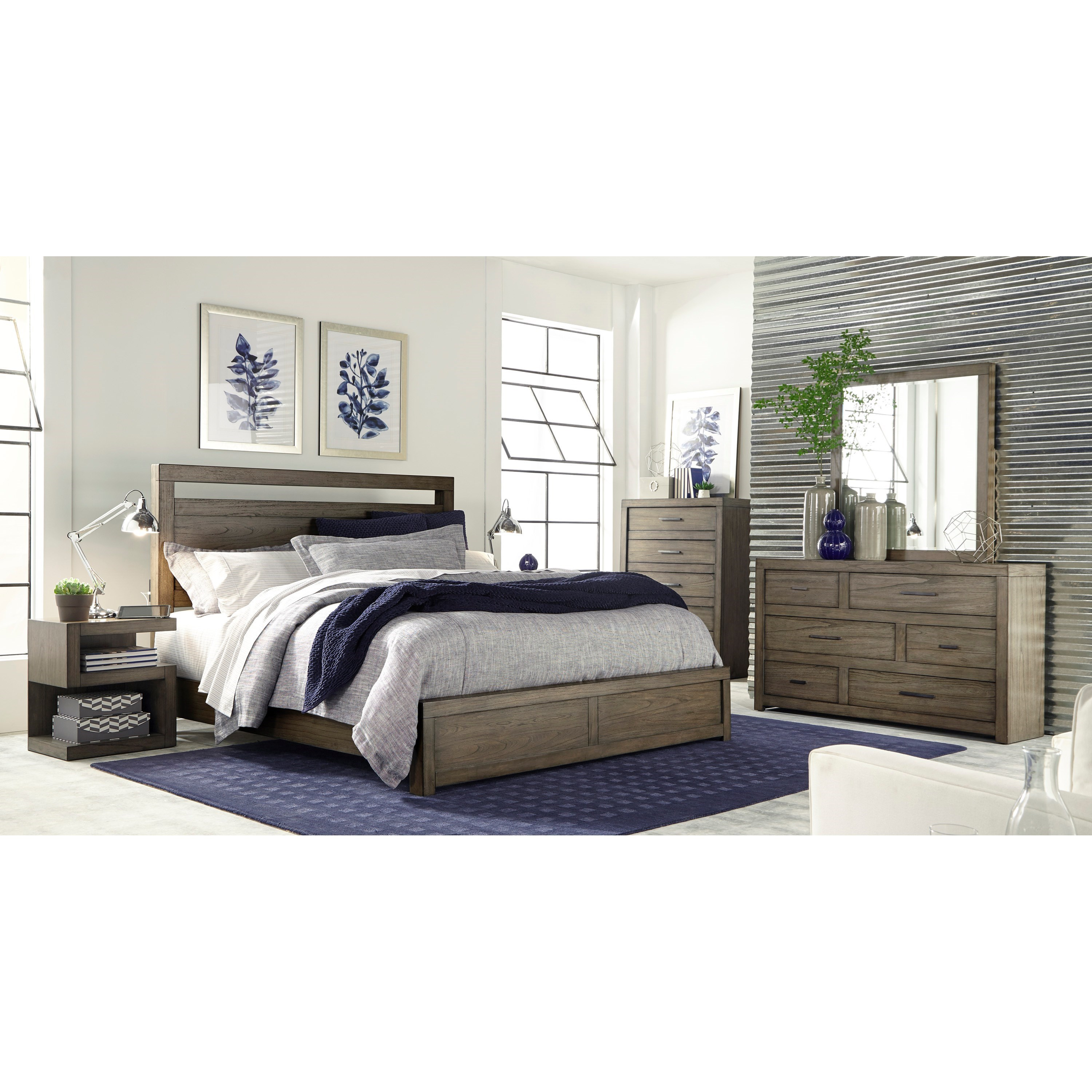 Aspenhome Modern Loft California King Panel Bed With Usb Charging Outlets Belfort Furniture