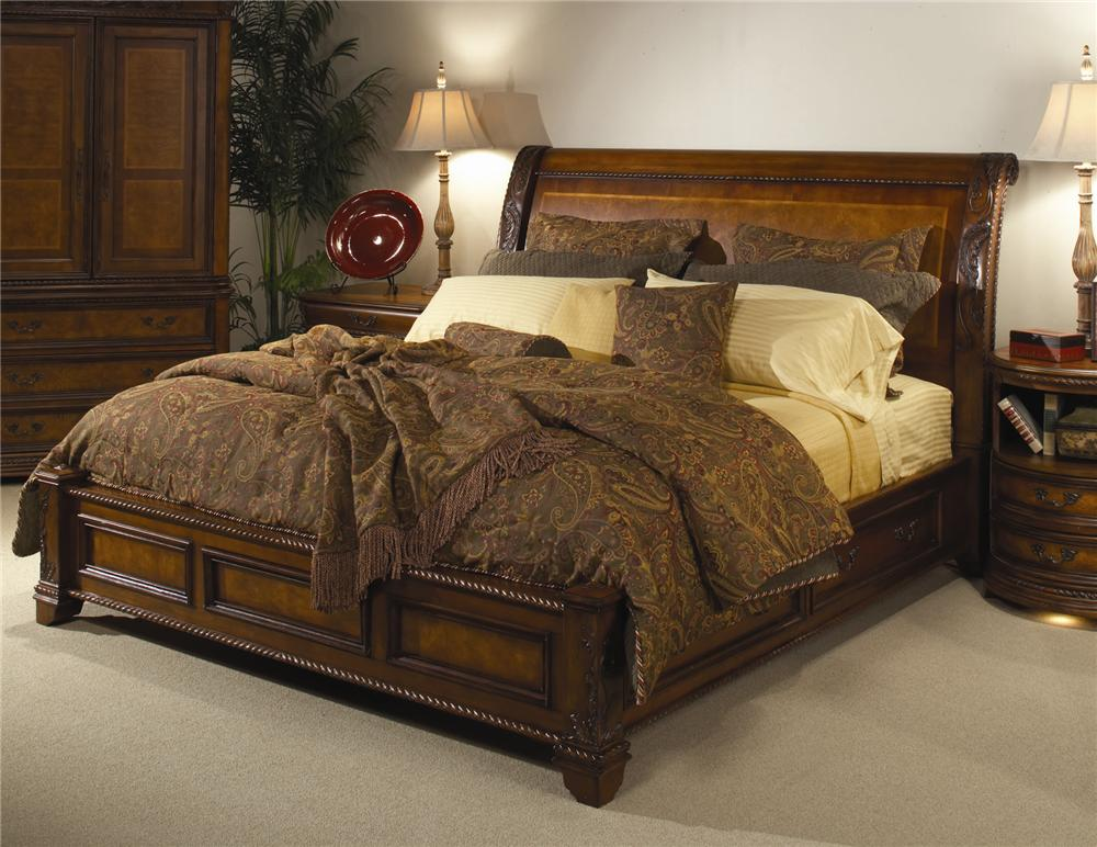 Aspenhome napa queen size storage sleigh bed olinde 39 s furniture sleigh bed Home furniture queen size bed