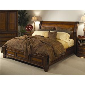 Aspenhome napa queen size sleigh bed with high profile footboard ahfa sleigh beds for Napa valley bedroom furniture