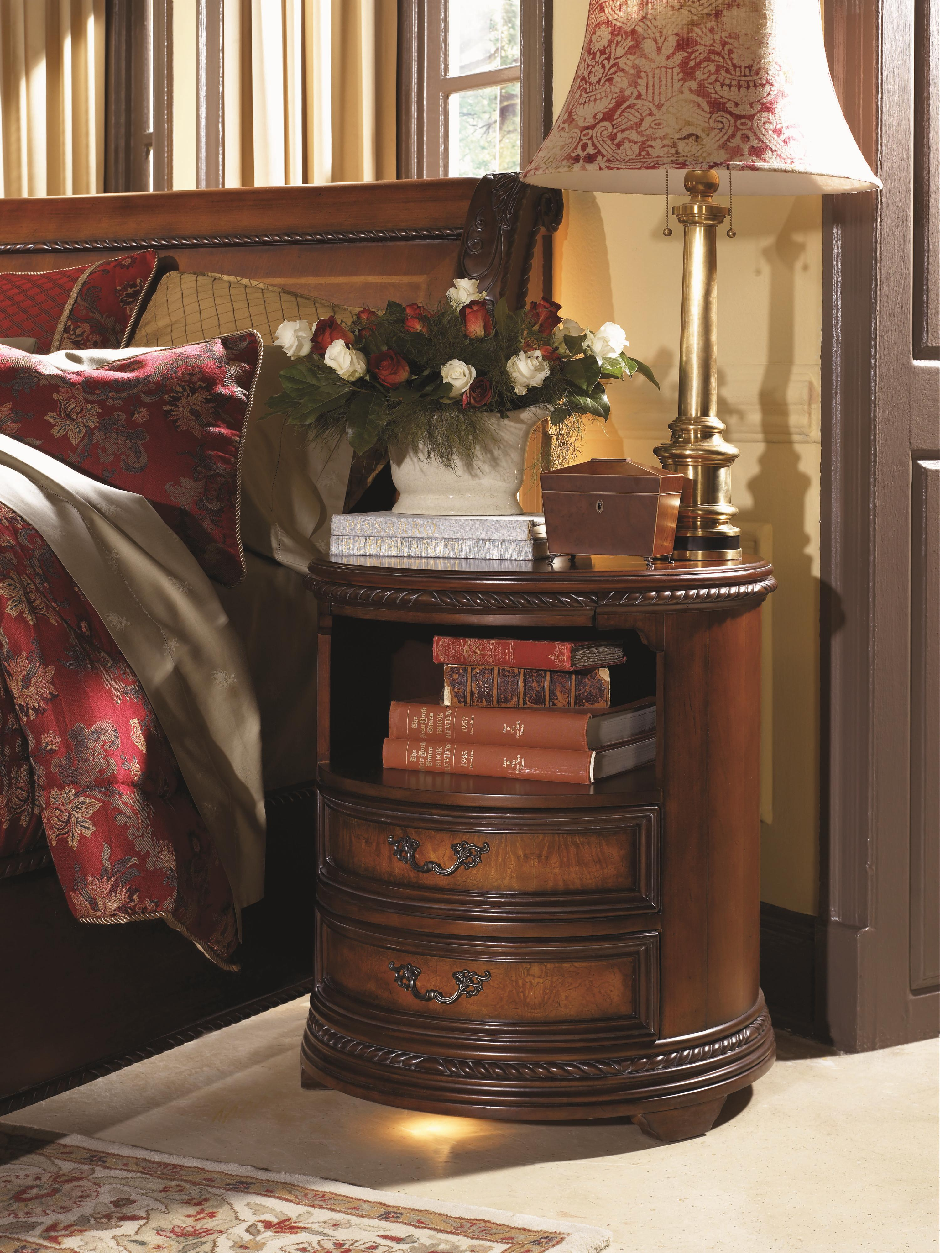Aspenhome Napa Round Nightstand With 2 Drawers 1 Shelf And Built In Touch Light Colder 39 S