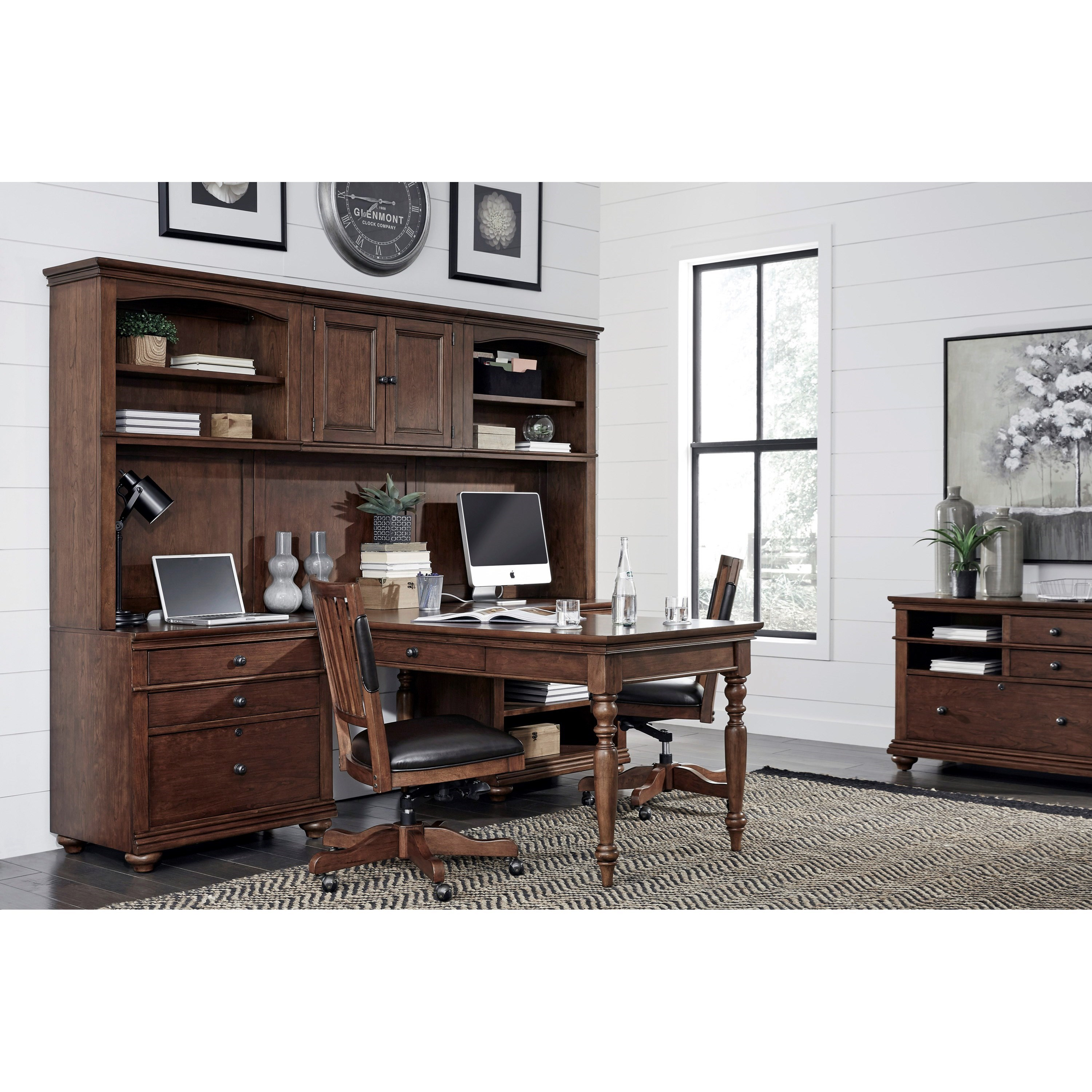Aspenhome Oxford Modular Home Office Wall Unit With Outlets Conlin 39 S Furniture Desk Hutch Sets