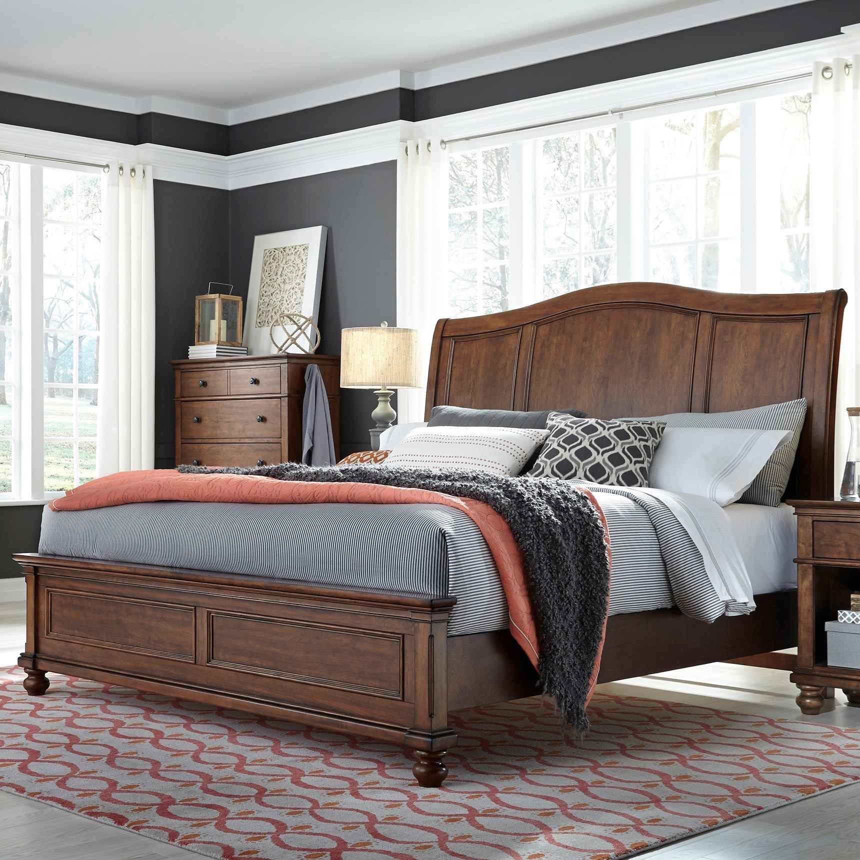 Aspenhome Oxford Transitional King Sleigh Bed With Usb Ports Wayside Furniture Sleigh Beds