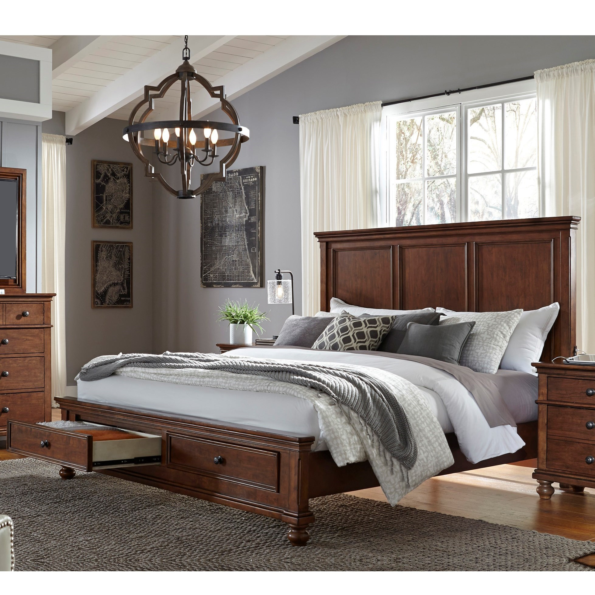 Aspenhome oxford transitional queen panel storage bed with for Panel bed mattress