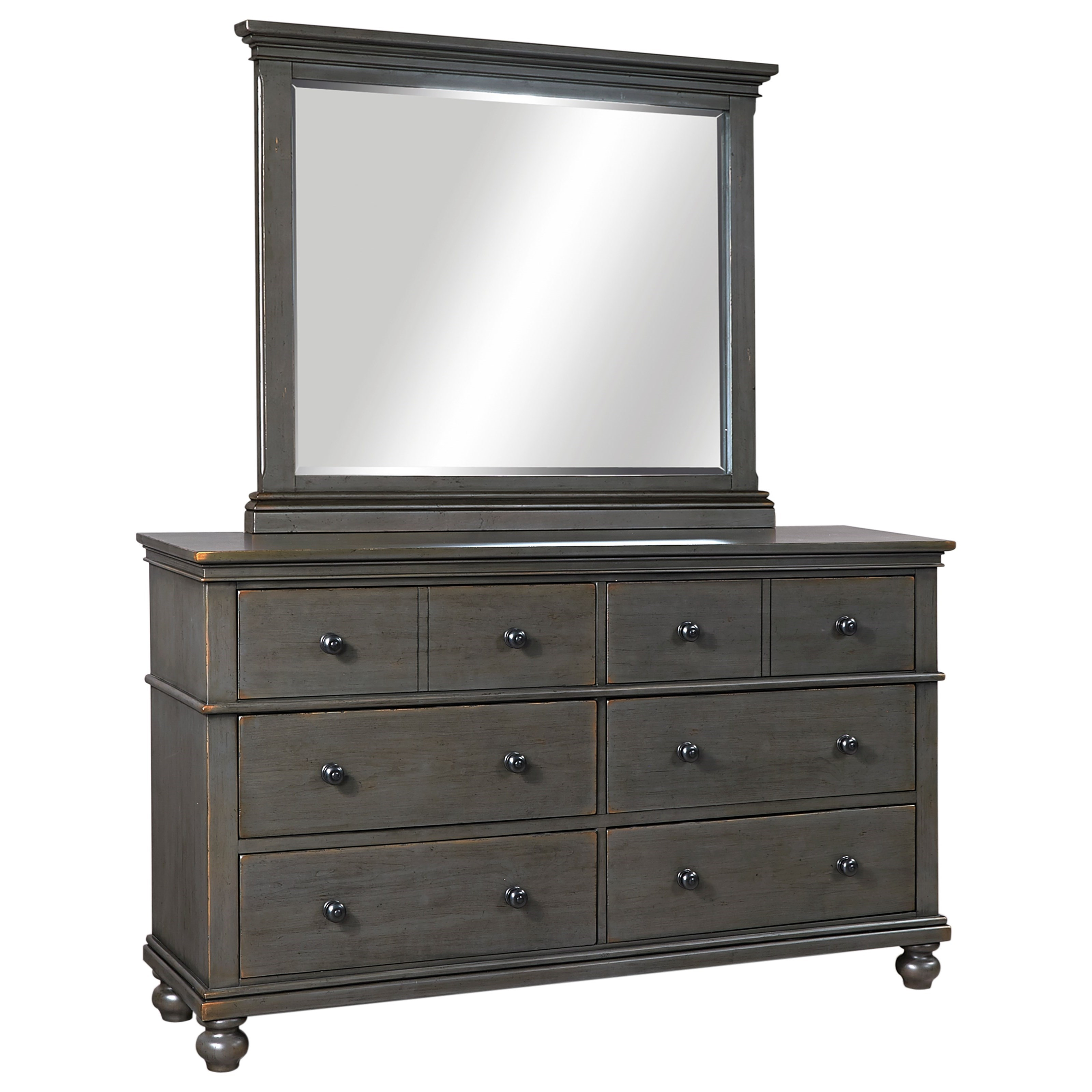 Aspenhome Oxford Transitional 6 Drawer Dresser And Mirror Set With Cedar And Felt Lining