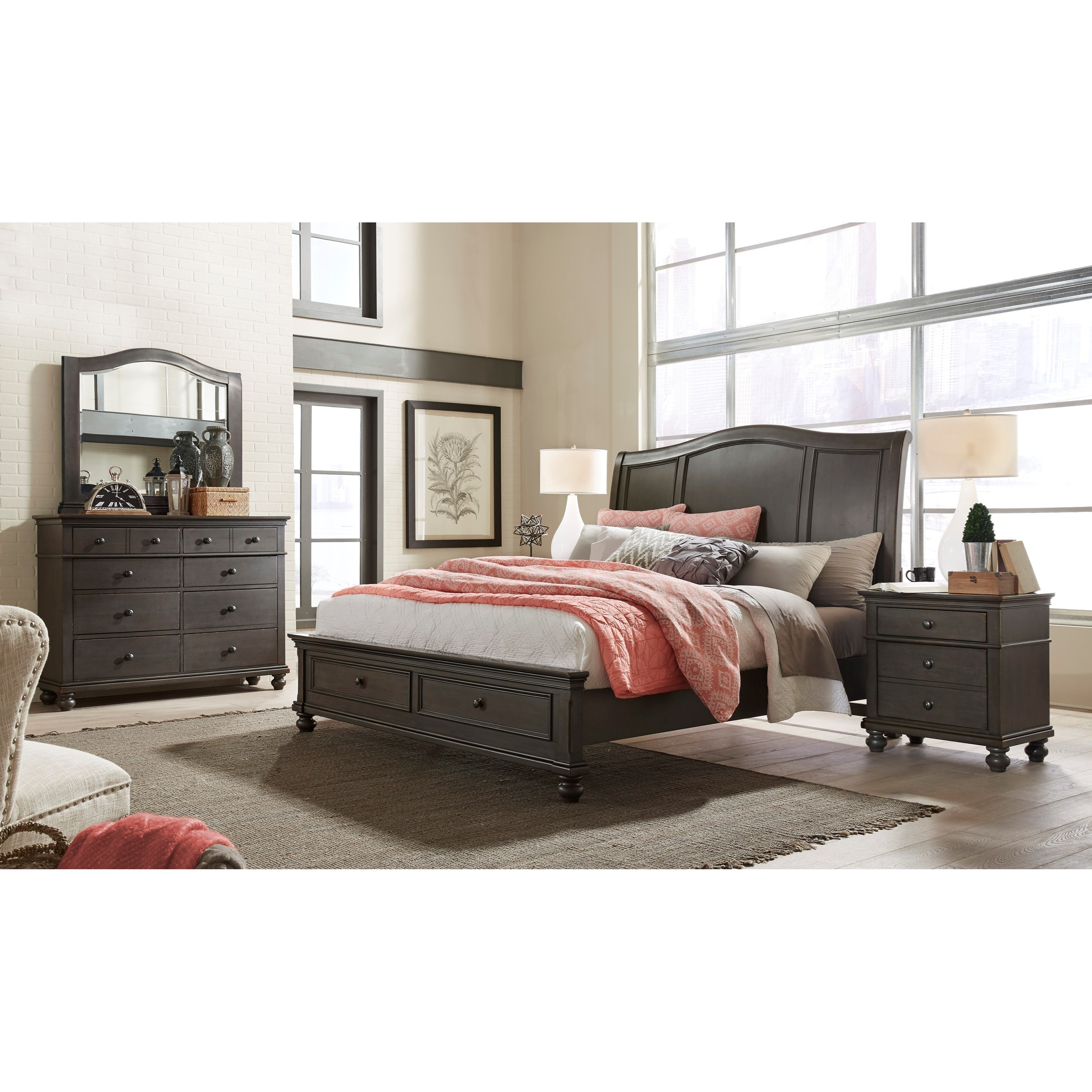 Aspenhome oxford california king bedroom group belfort for Bedroom furniture groups
