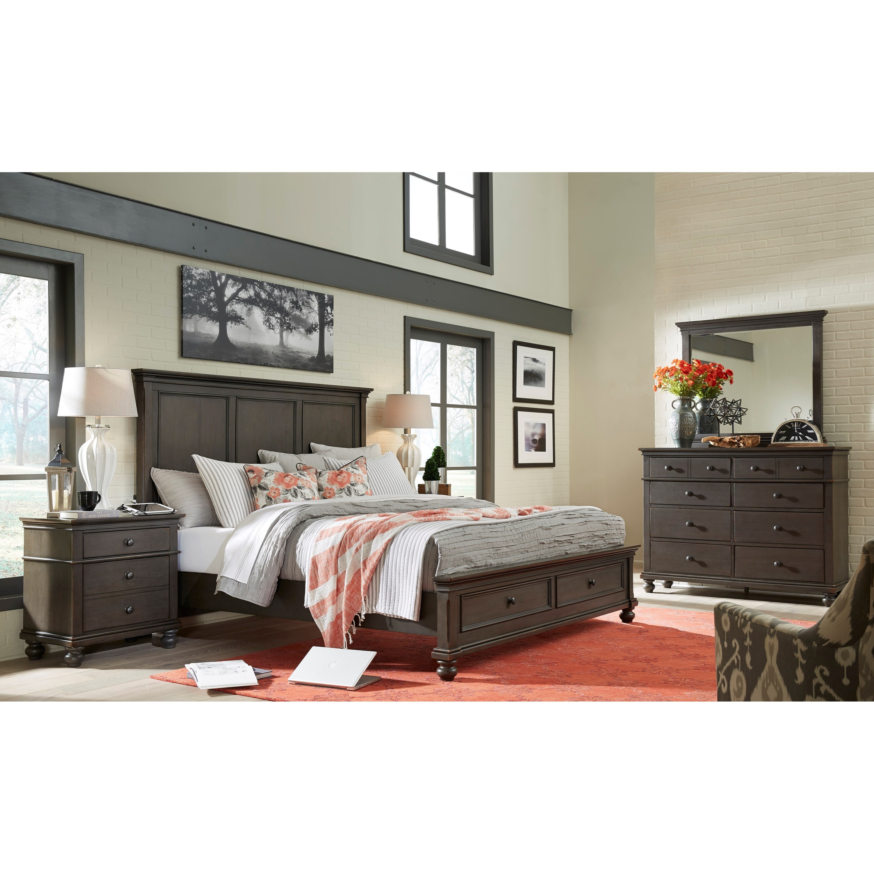 Aspenhome oxford queen bedroom group belfort furniture for Bedroom furniture groups
