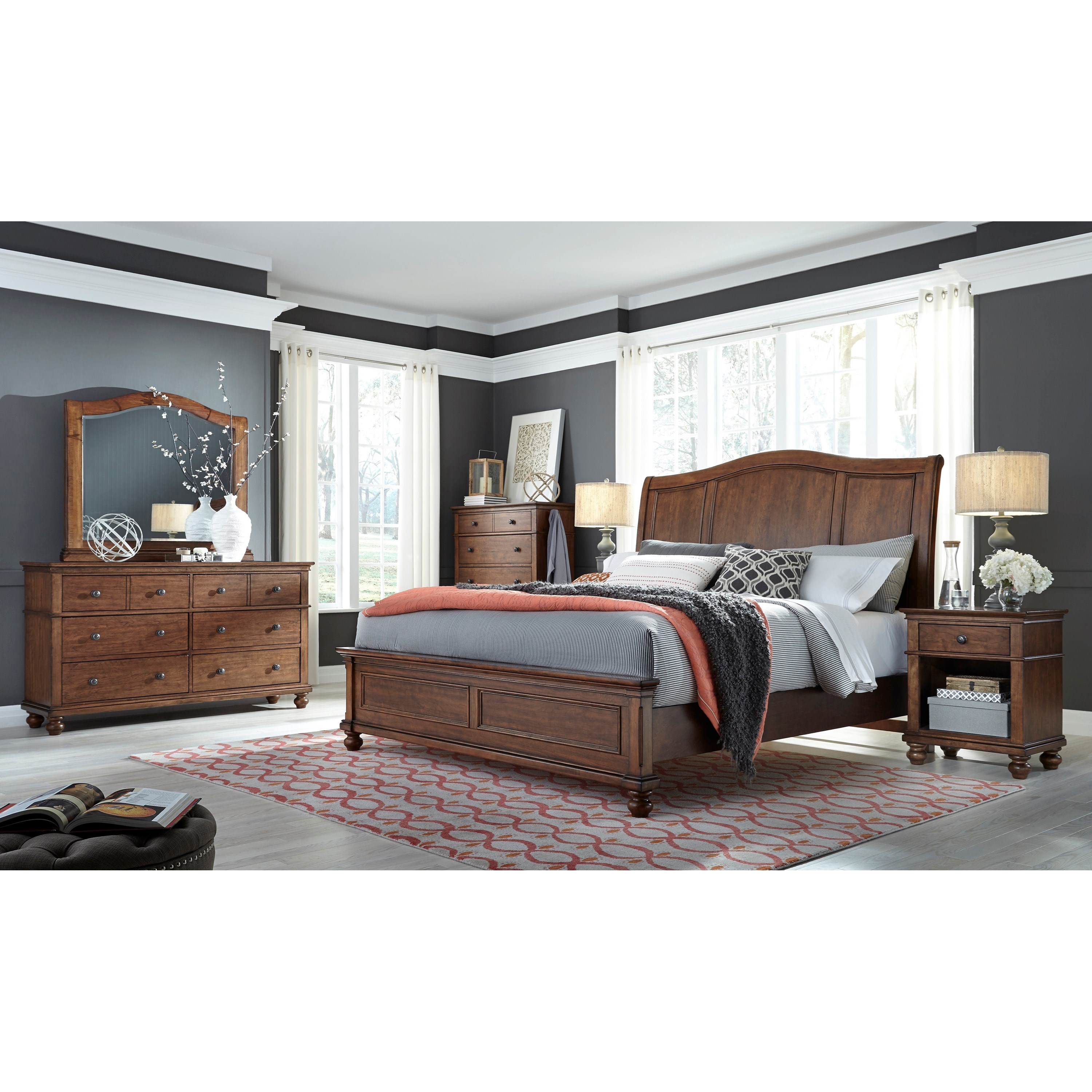 Aspenhome oxford california king bedroom group dunk for Bedroom furniture groups