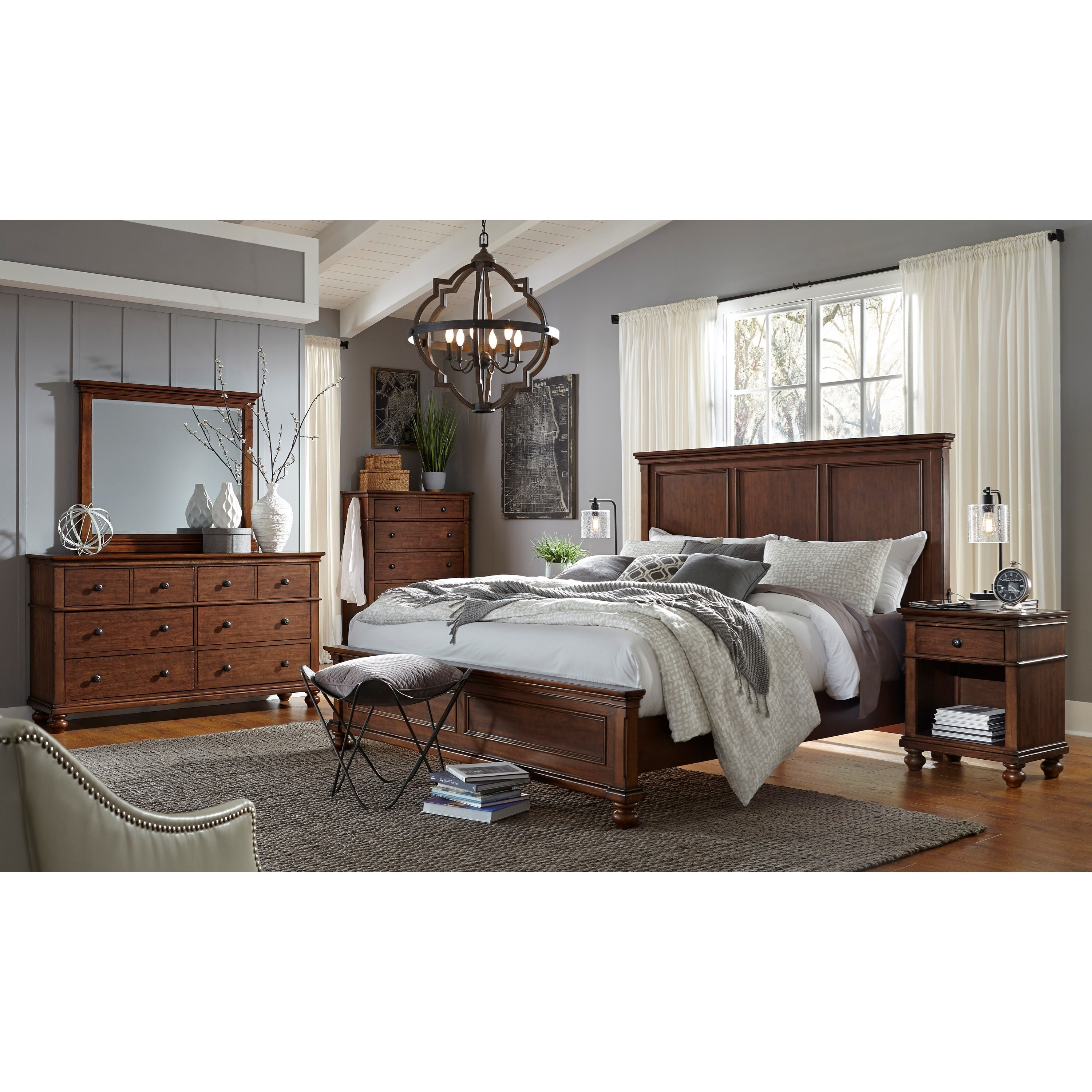 Aspenhome oxford queen bedroom group dunk bright - Bright house bedroom furniture ...