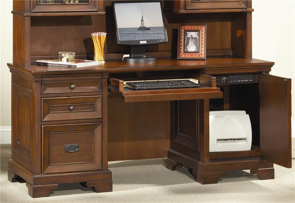 Aspenhome Richmond 66 Inch Credenza Desk Belfort Furniture Kneehole Credenza