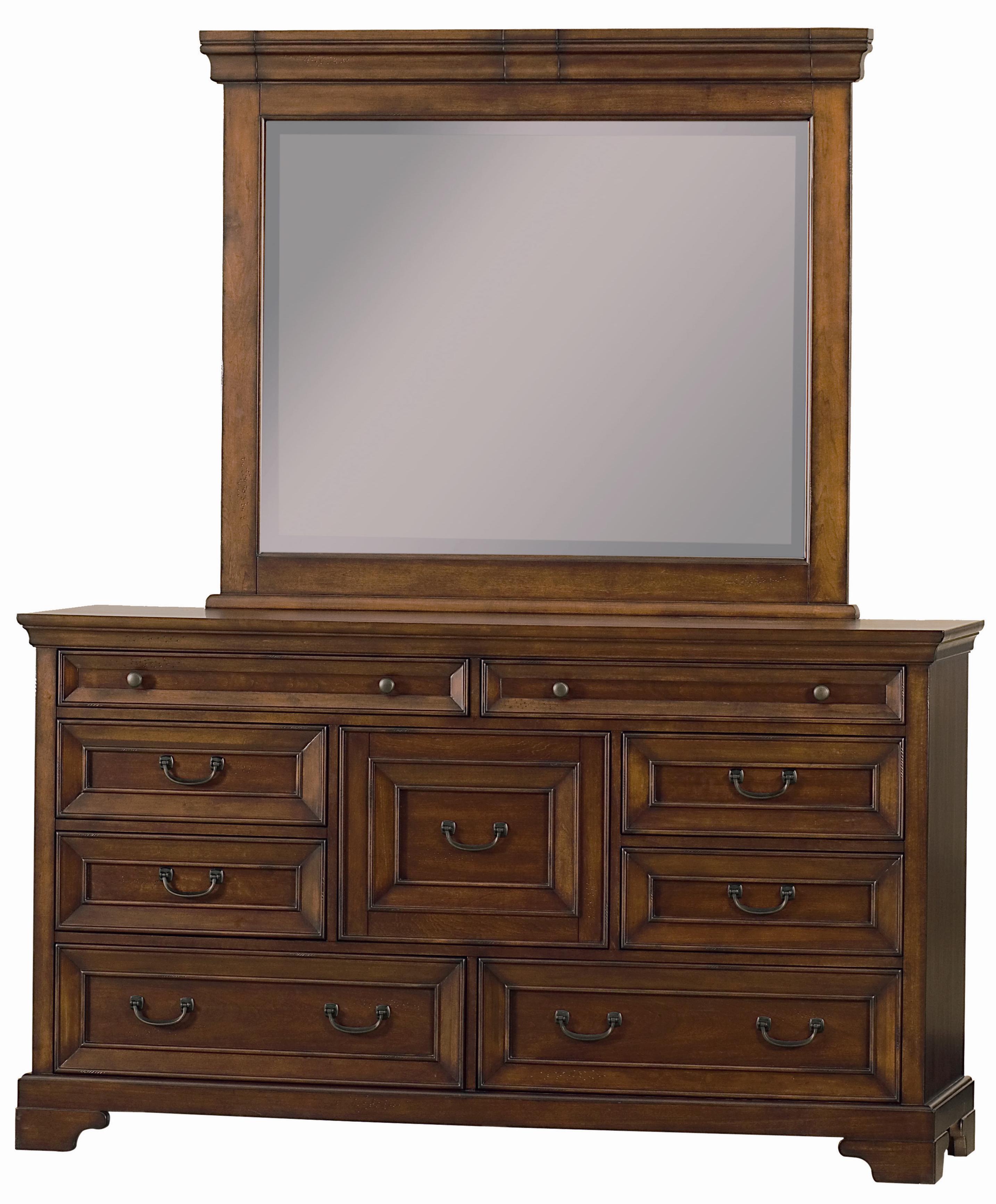 Aspenhome Richmond Nine Drawer Dresser Landscape Mirror Hudson 39 S Furniture Dresser Mirror