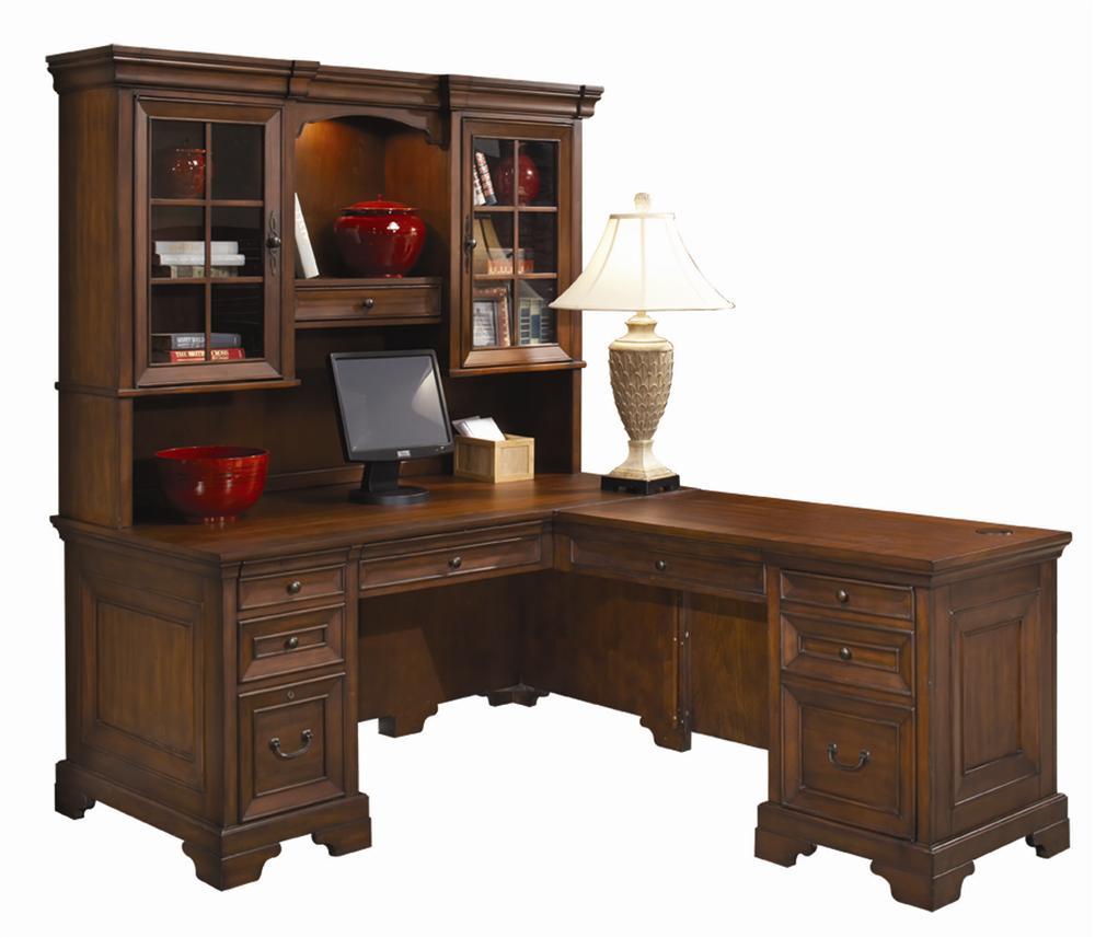 aspenhome richmond l shaped computer desk and return with hutch olinde 39 s furniture l shape desks. Black Bedroom Furniture Sets. Home Design Ideas