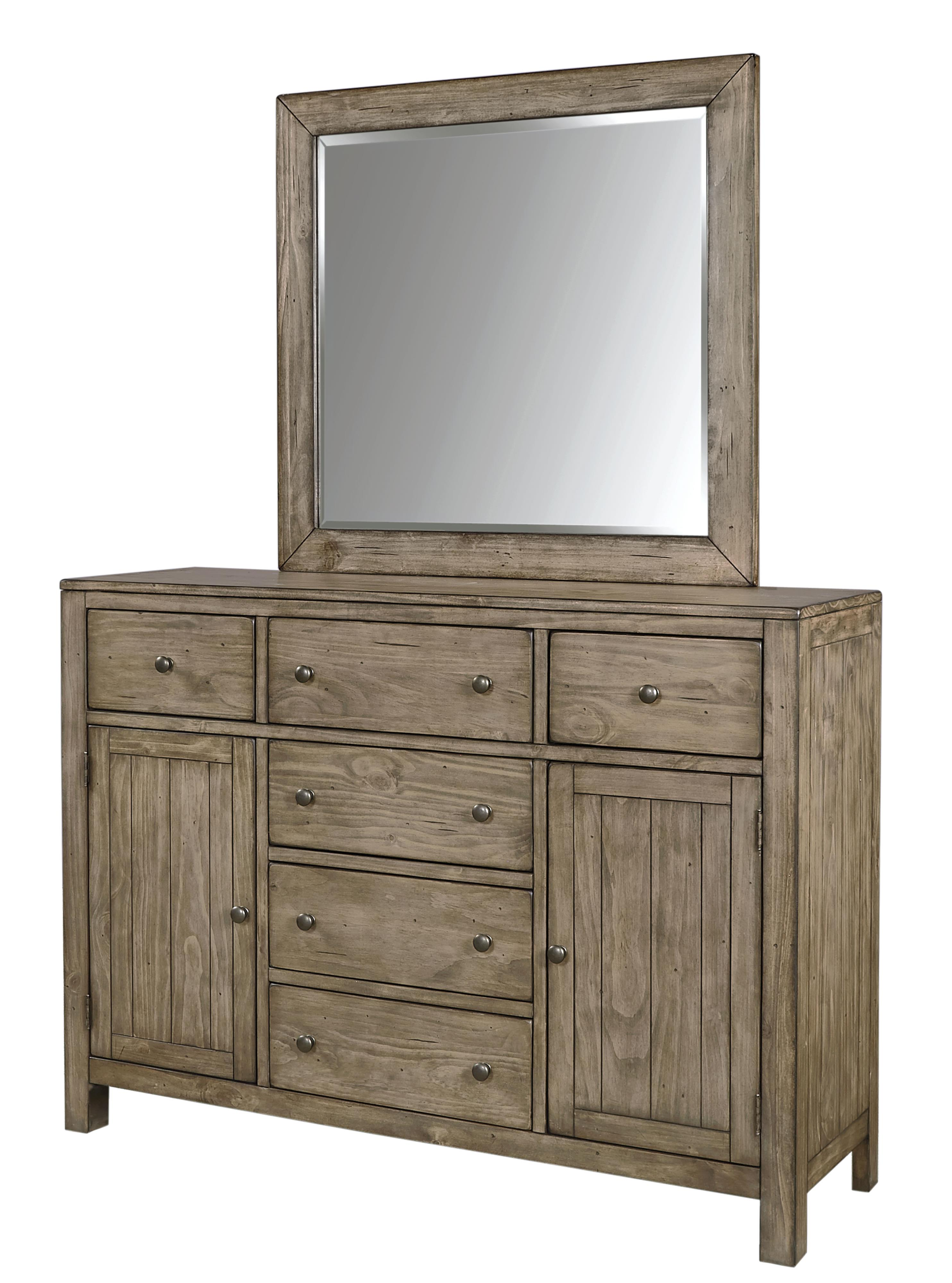 Aspenhome Tildon 6 Drawer And 2 Door Chesser With Landscape Mirror Dunk Bright Furniture