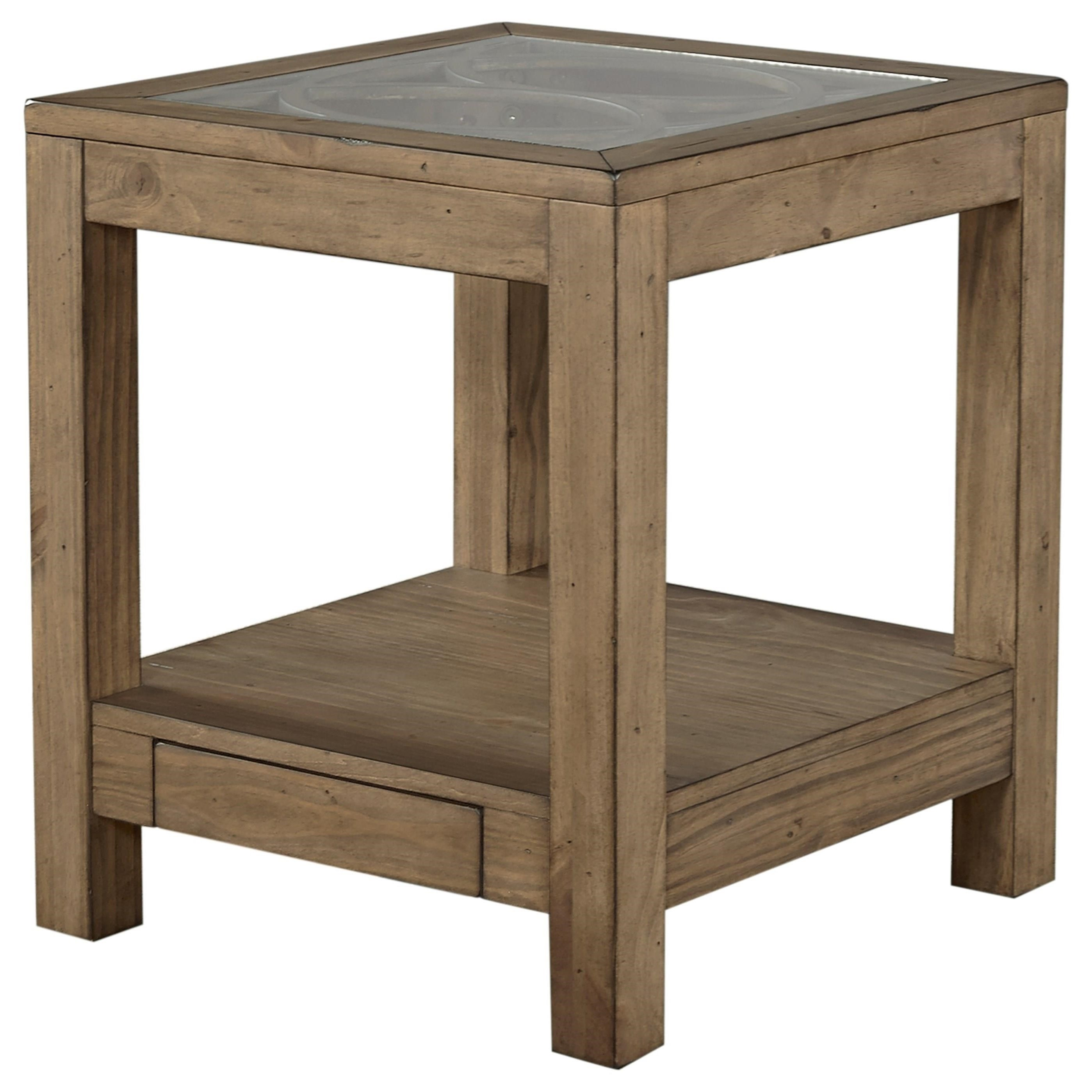Aspenhome tildon i56 9145gl end table with power outlet for Bright colored side tables