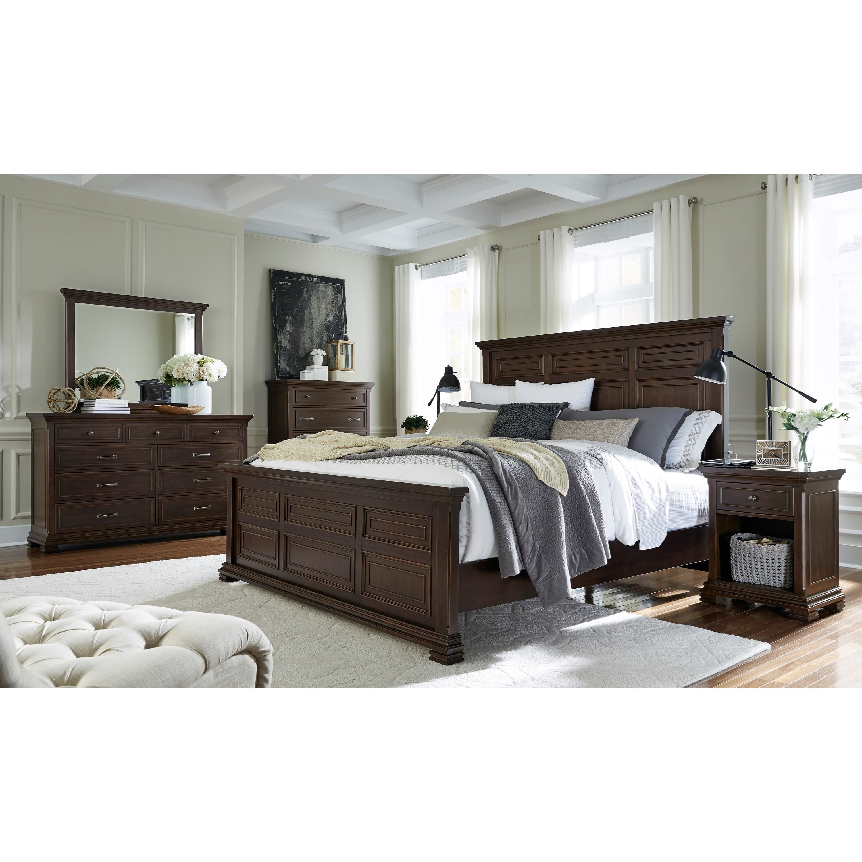 Aspenhome weston queen bedroom group dunk bright for Bedroom furniture groups