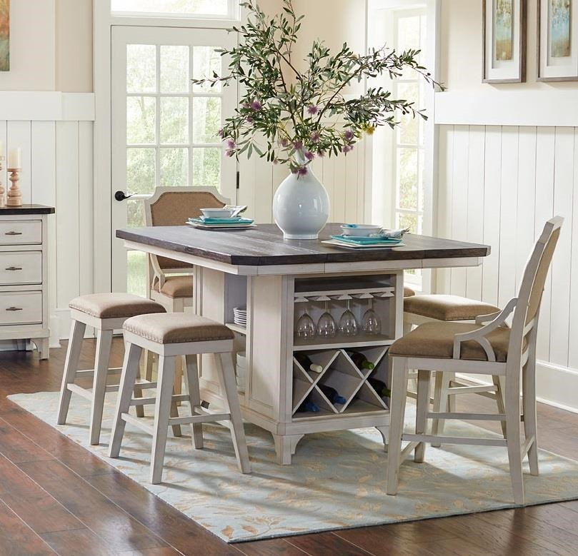 Avalon Furniture Mystic Cay Aval Grp D00042 Tbl 6 Set1 Kitchen Island 4 Backless Stools 2