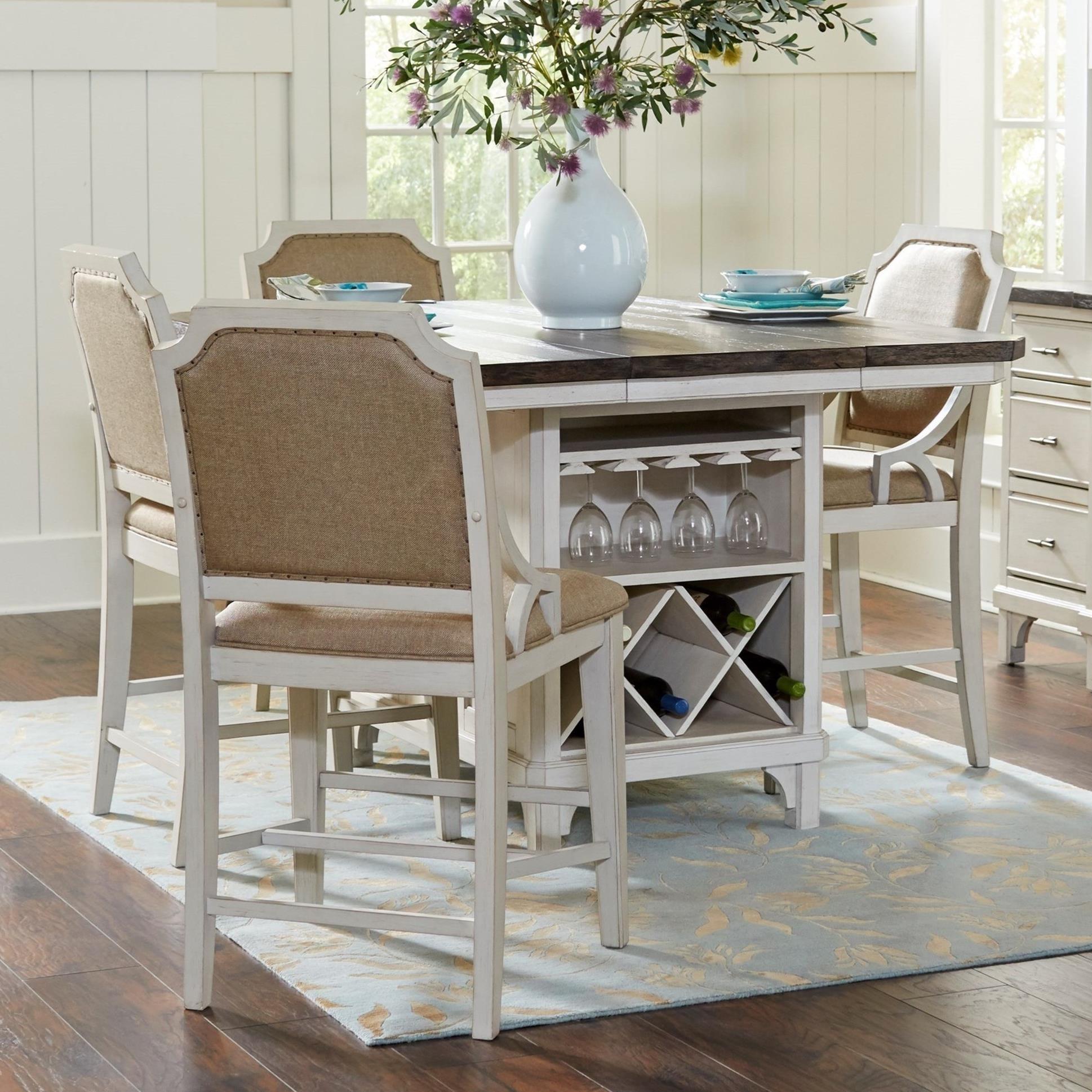 Avalon Furniture Mystic Cay 5 Piece Kitchen Island Table