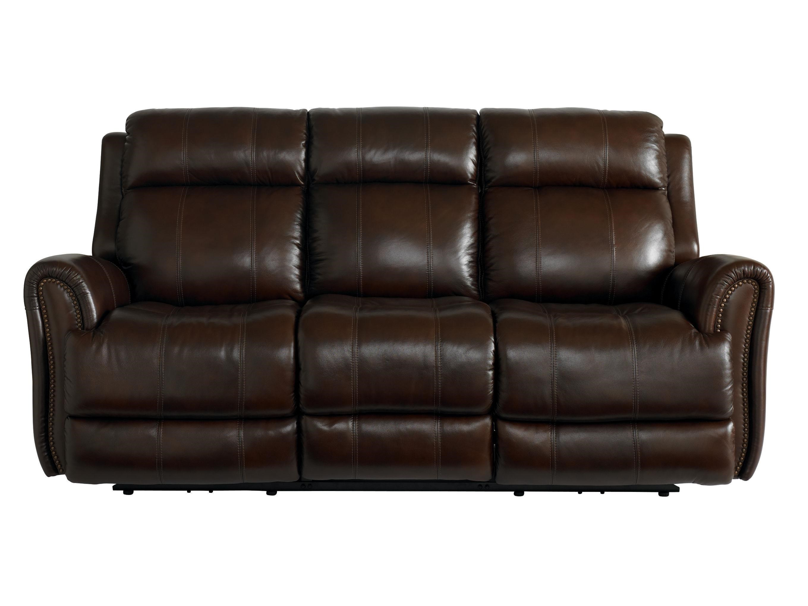 Bassett Marquee Umber Leather Power Reclining Sofa with